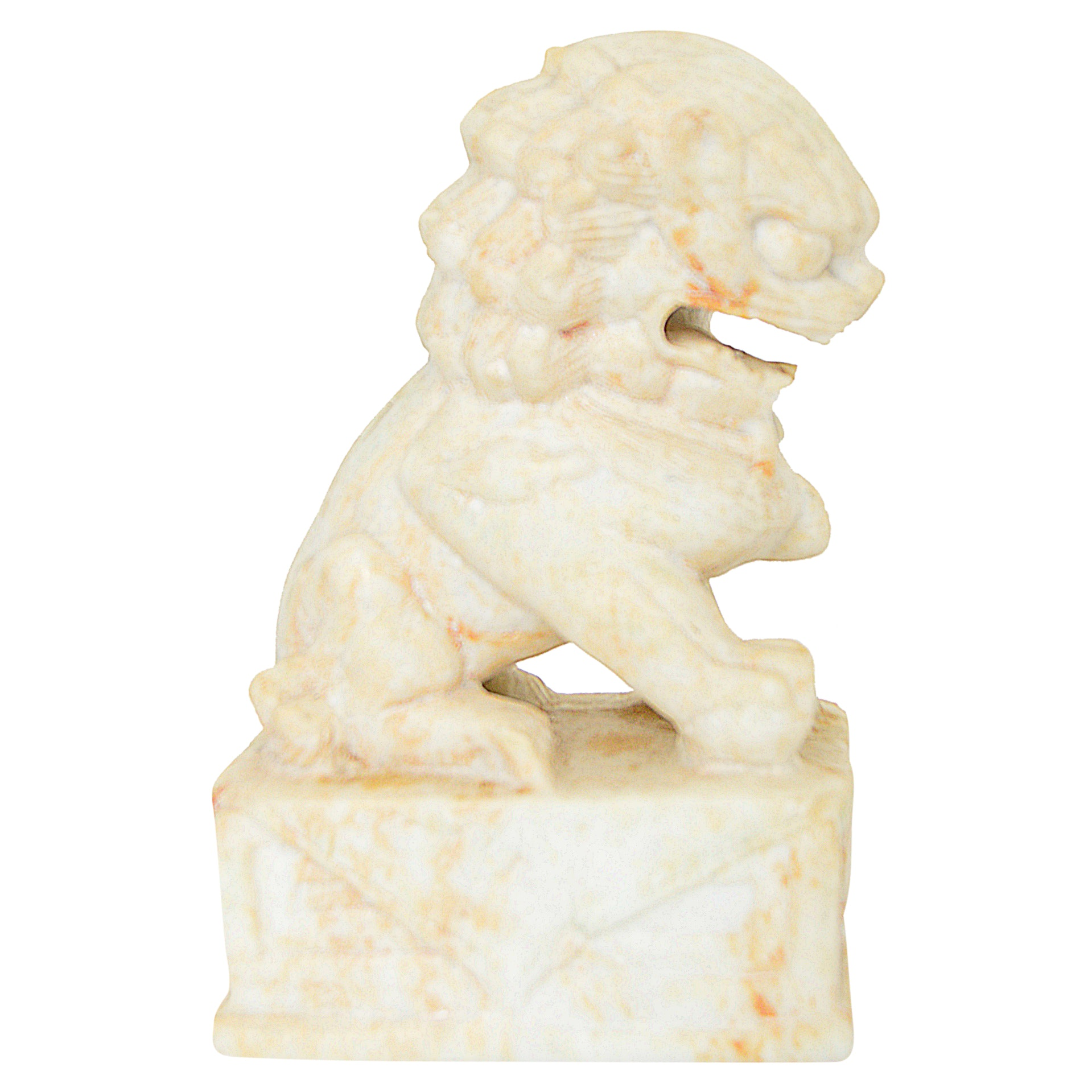 Neoclassic Style Carved Stone Lion Bookend, Late 20th Century