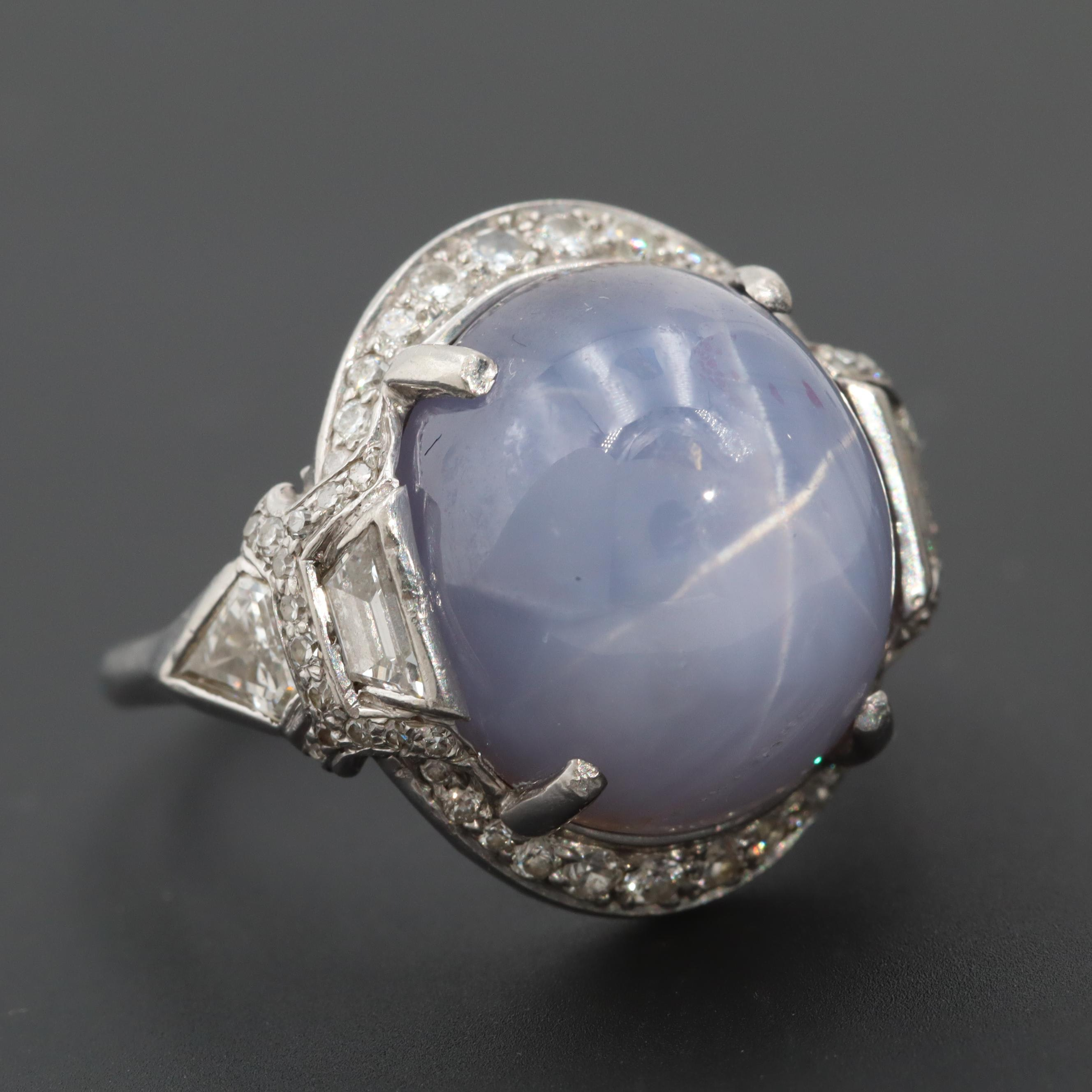 Art Deco Platinum 21.55 CT Star Sapphire and 1.14 CTW Diamond Ring