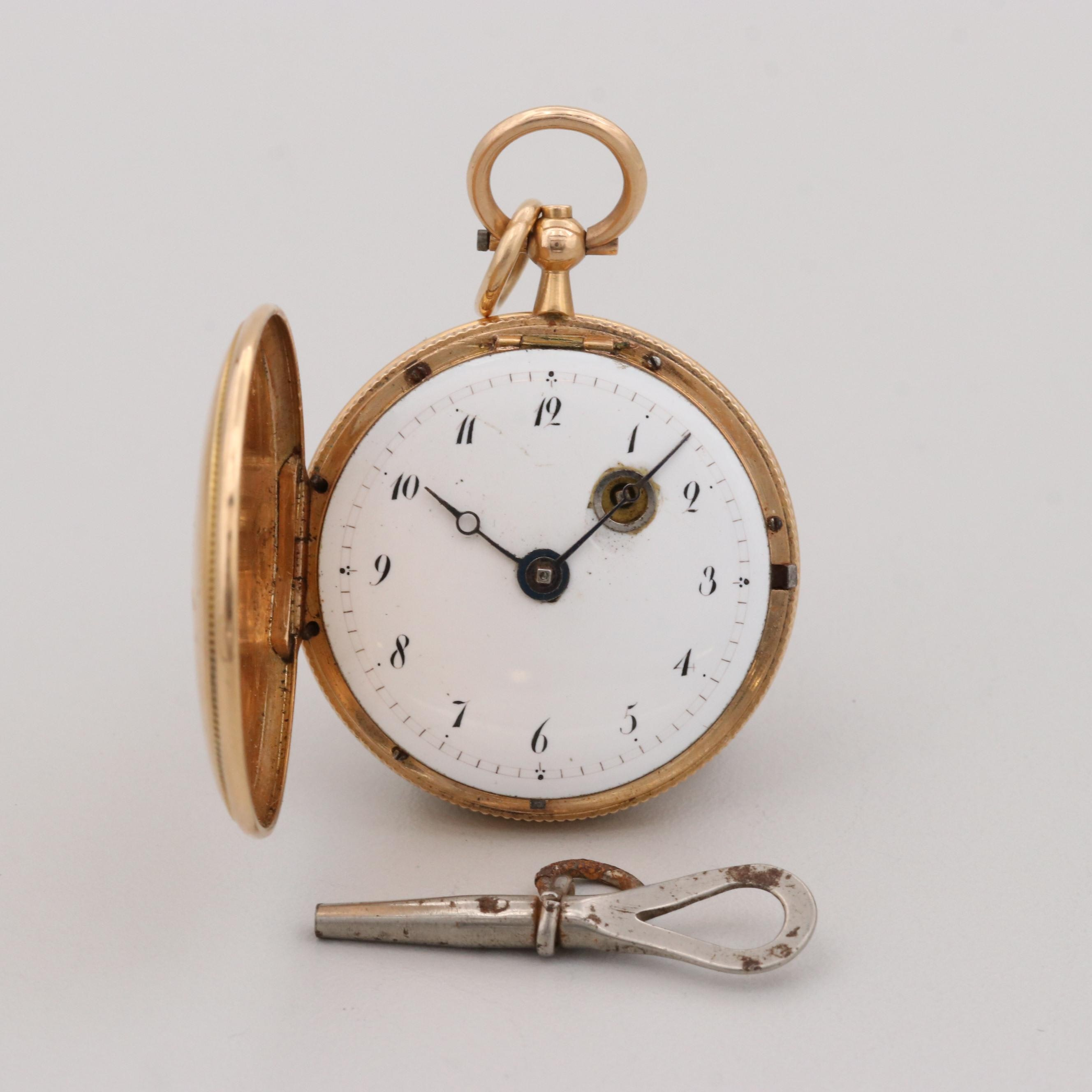 Antique 18K Yellow Gold Pocket Watch With 14K Yellow Gold Bale