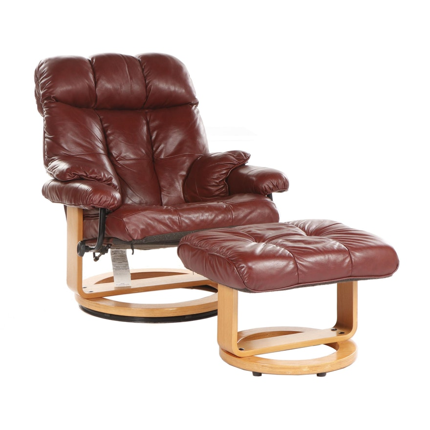 Fabulous Contemporary Modern Red Leather Upholstered Recliner With Ottoman Uwap Interior Chair Design Uwaporg