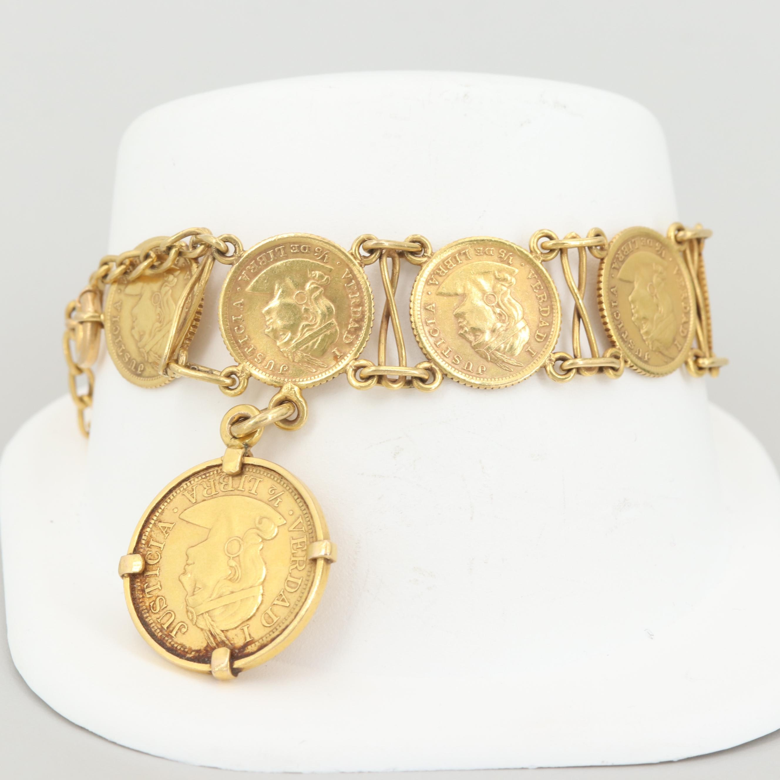 14K and 18K Gold Bracelet with 91.7% Gold Peruvian Libra Trade Coins