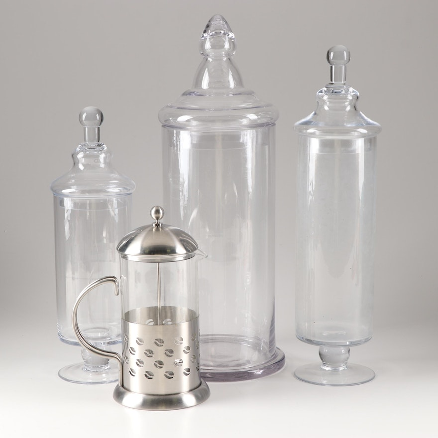 La Cafetiere 8 Cup French Press and Glass Kitchen Canisters