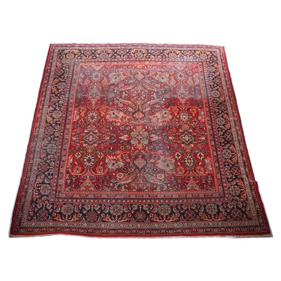 Hand-Knotted Persian Mahal Wool Room Sized Rug, Mid-Century