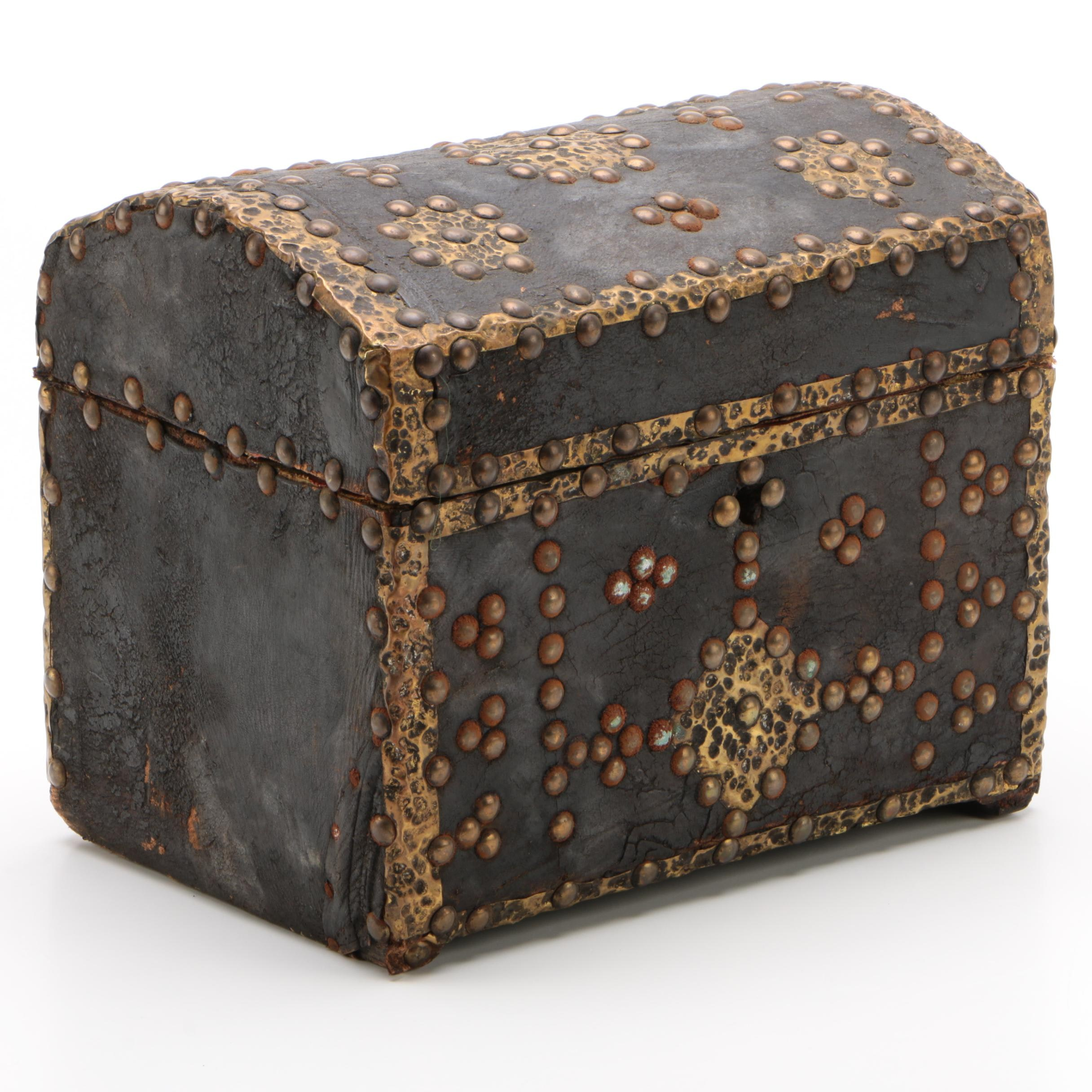 Leather and Brass Embellished Dome Top Table Chest, Late 19th Century
