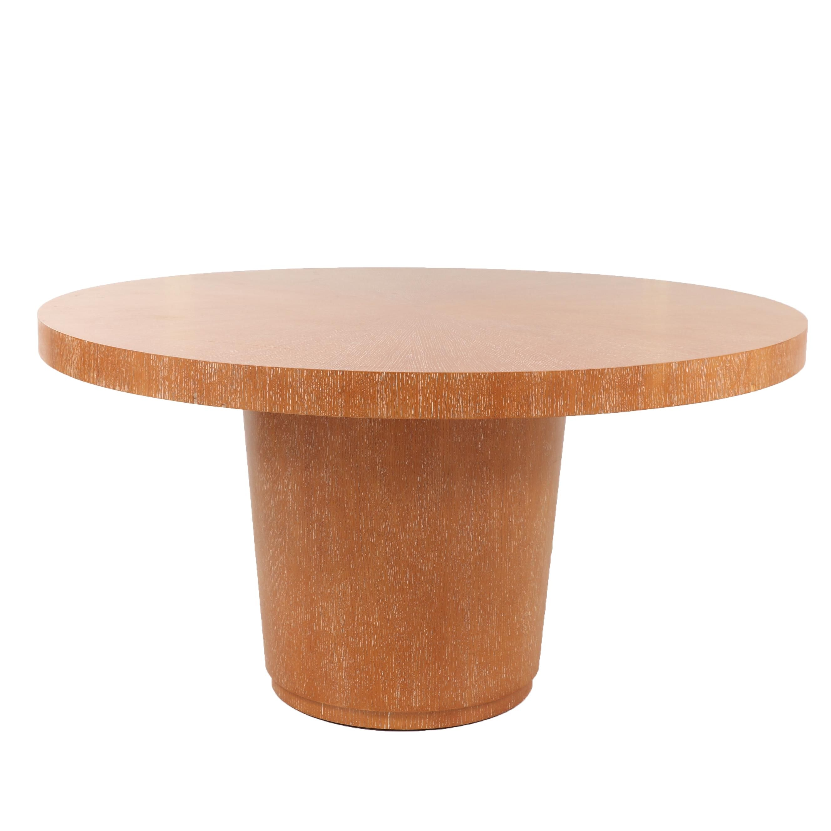 Contemporary Round Wooden Dining Table with Cylindrical Base