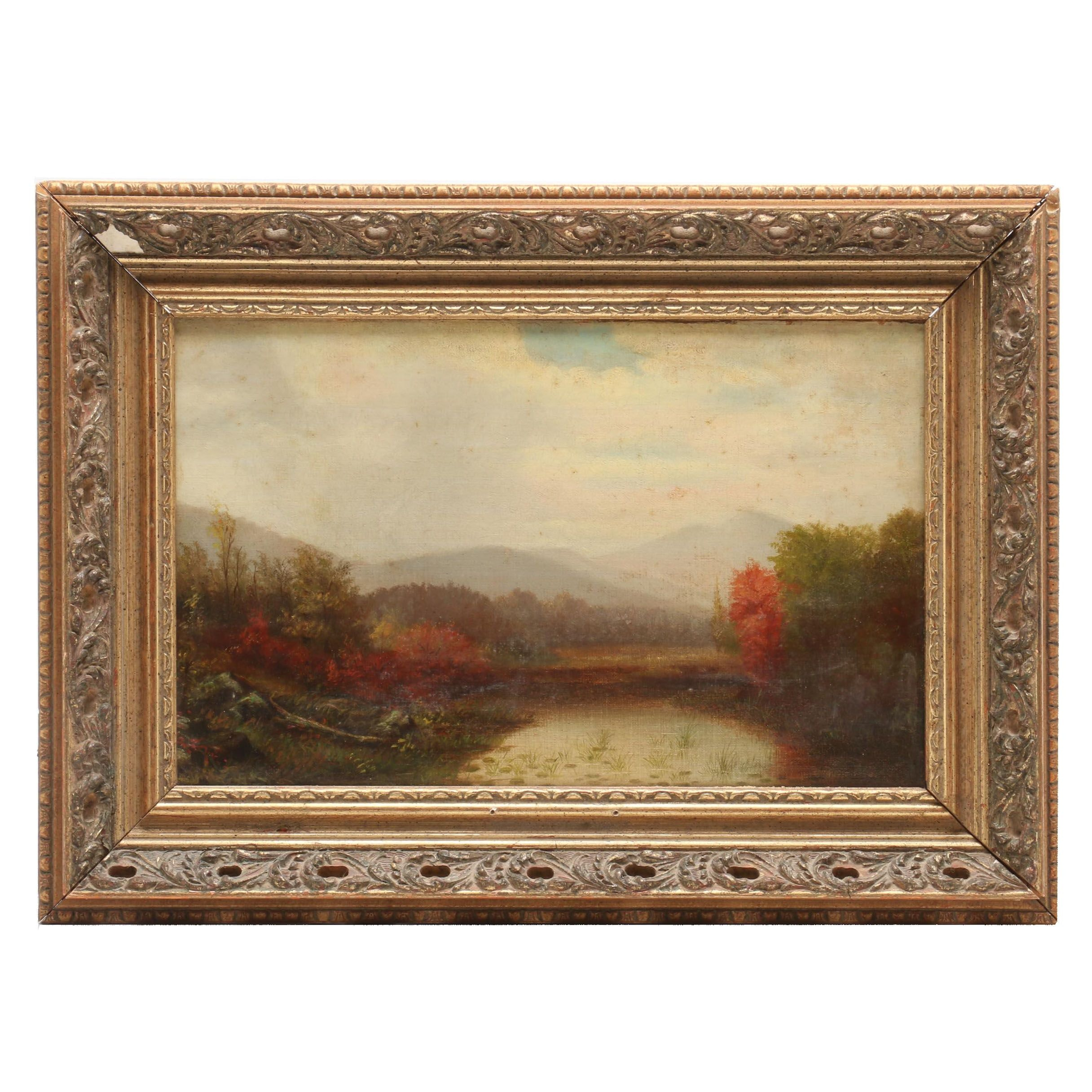 Hudson River School Style Landscape Oil Painting