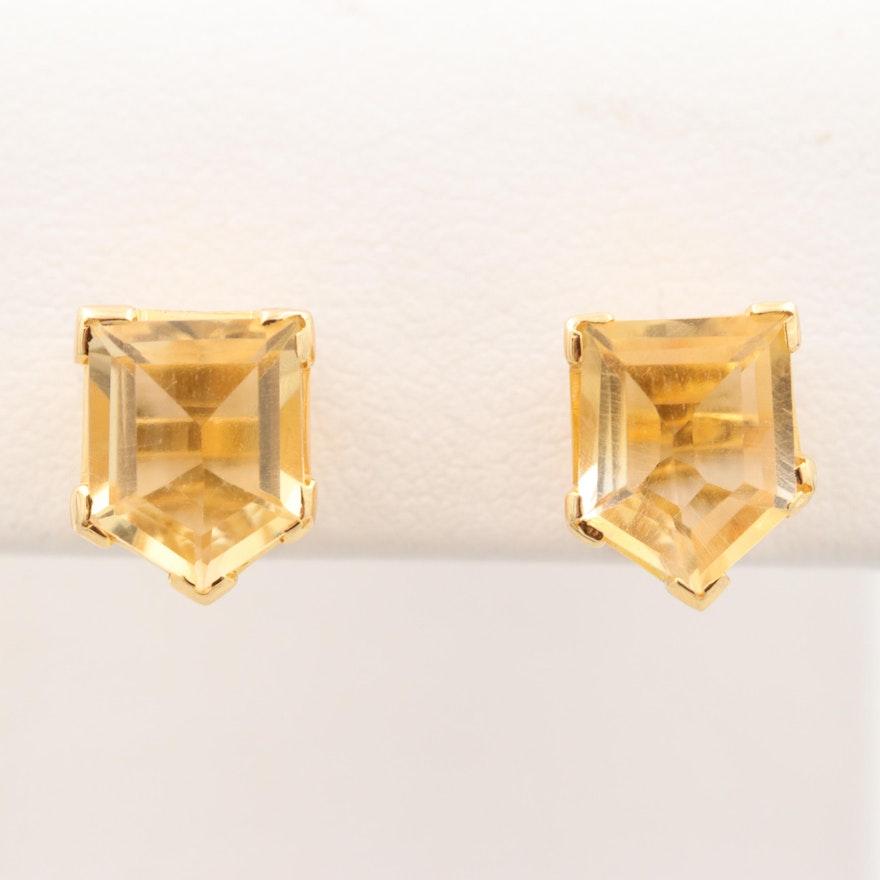 5df8873fa 14K Yellow Gold Citrine Stud Earrings   EBTH