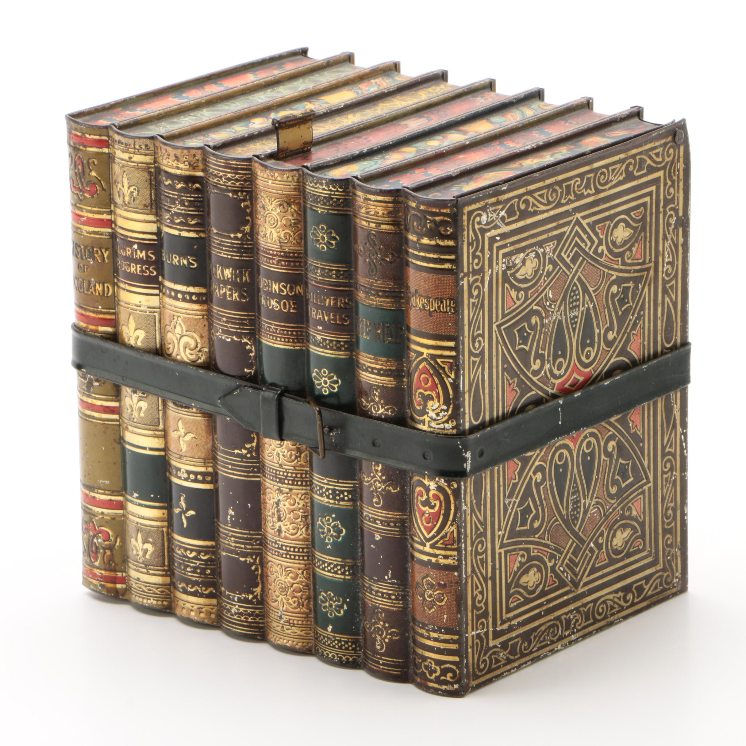 Faux Stacked Books Metal Storage Box, Early 20th Century