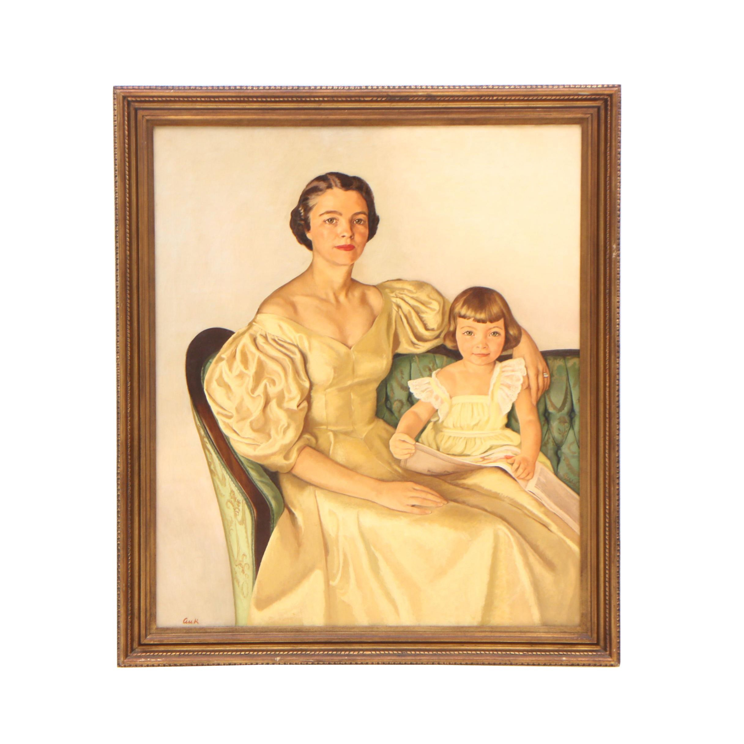 Portrait of Mother and Daughter Oil Painting
