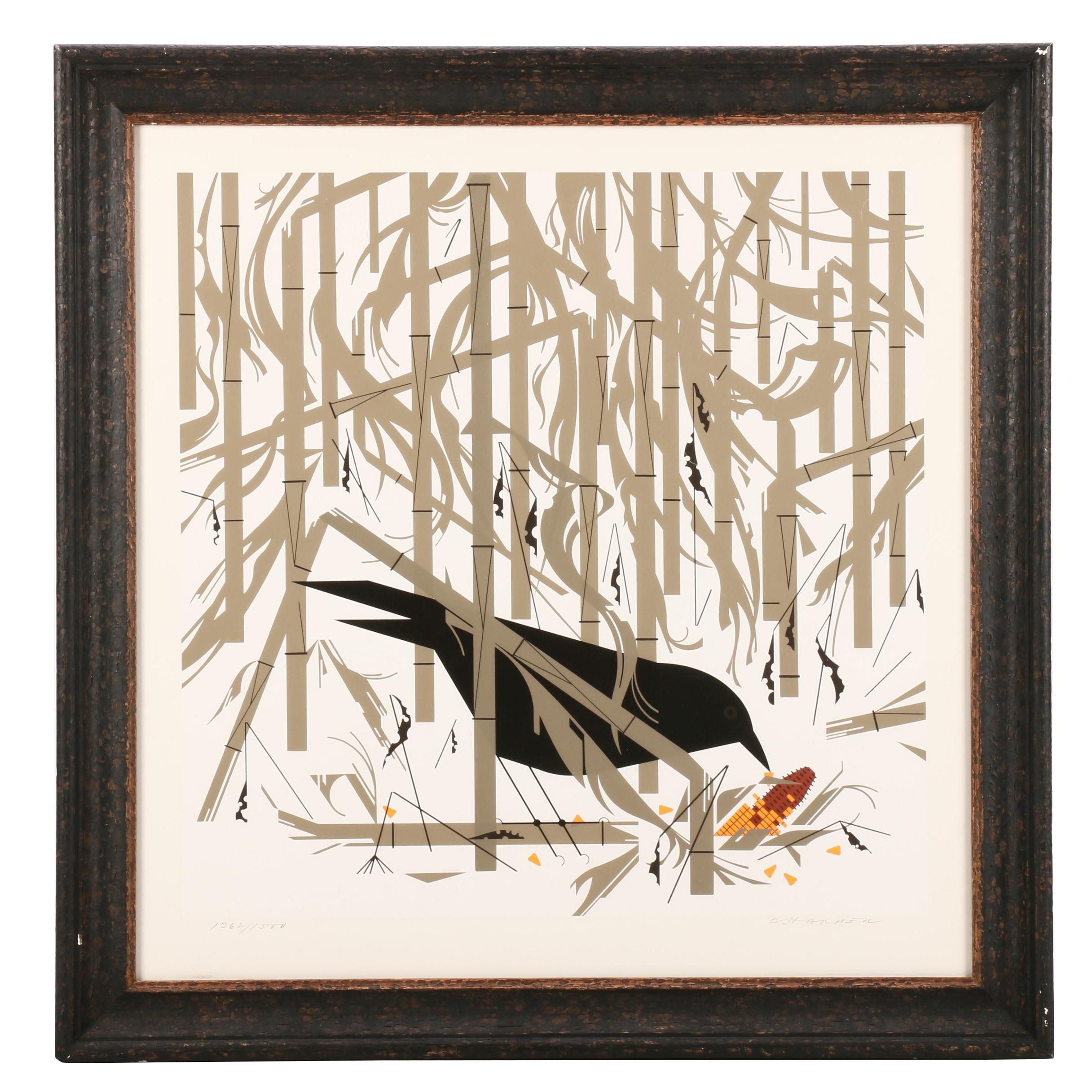 "Charley Harper Serigraph ""Crow in the Snow"""