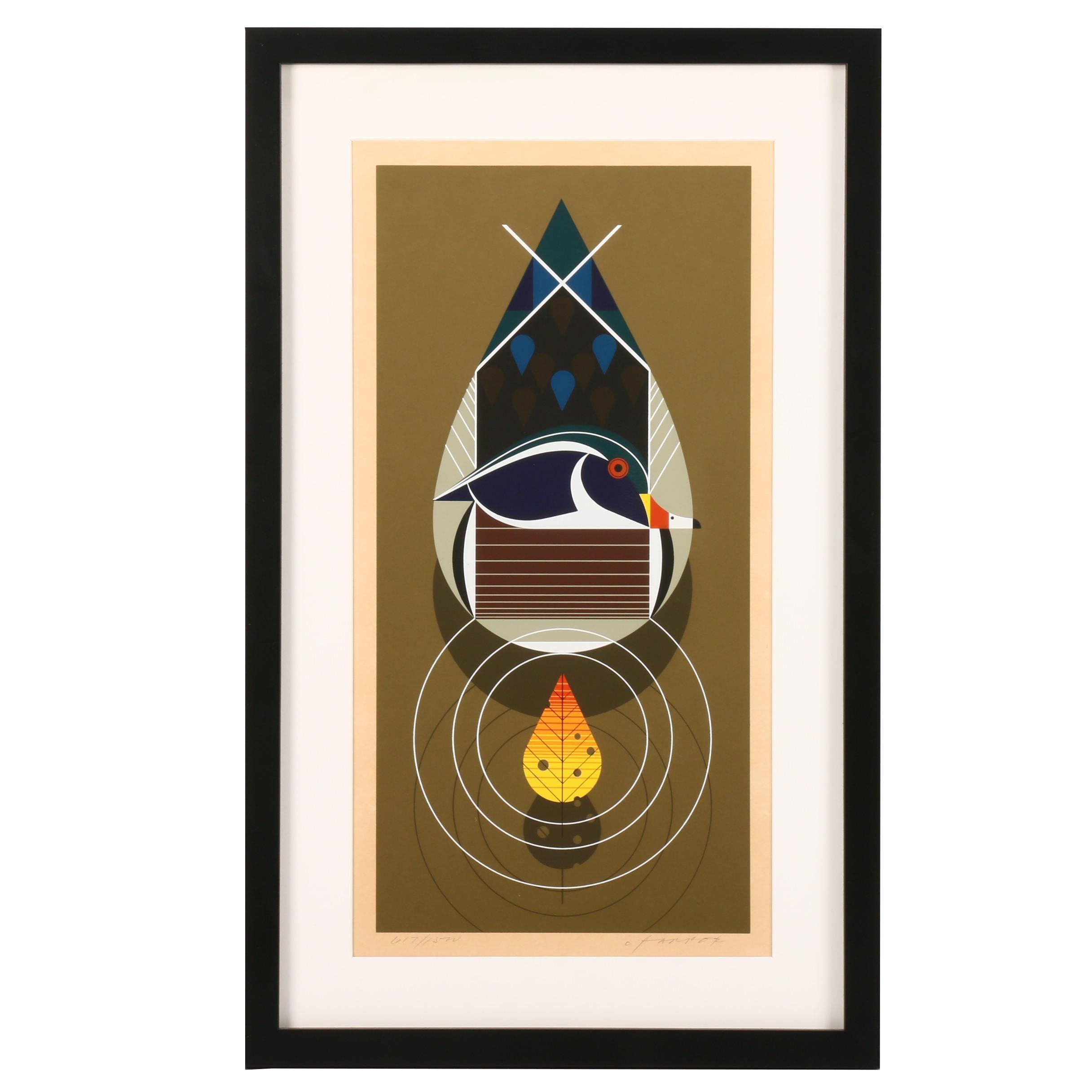 "Charley Harper Serigraph ""Wood Duck (Best Dressed)"""