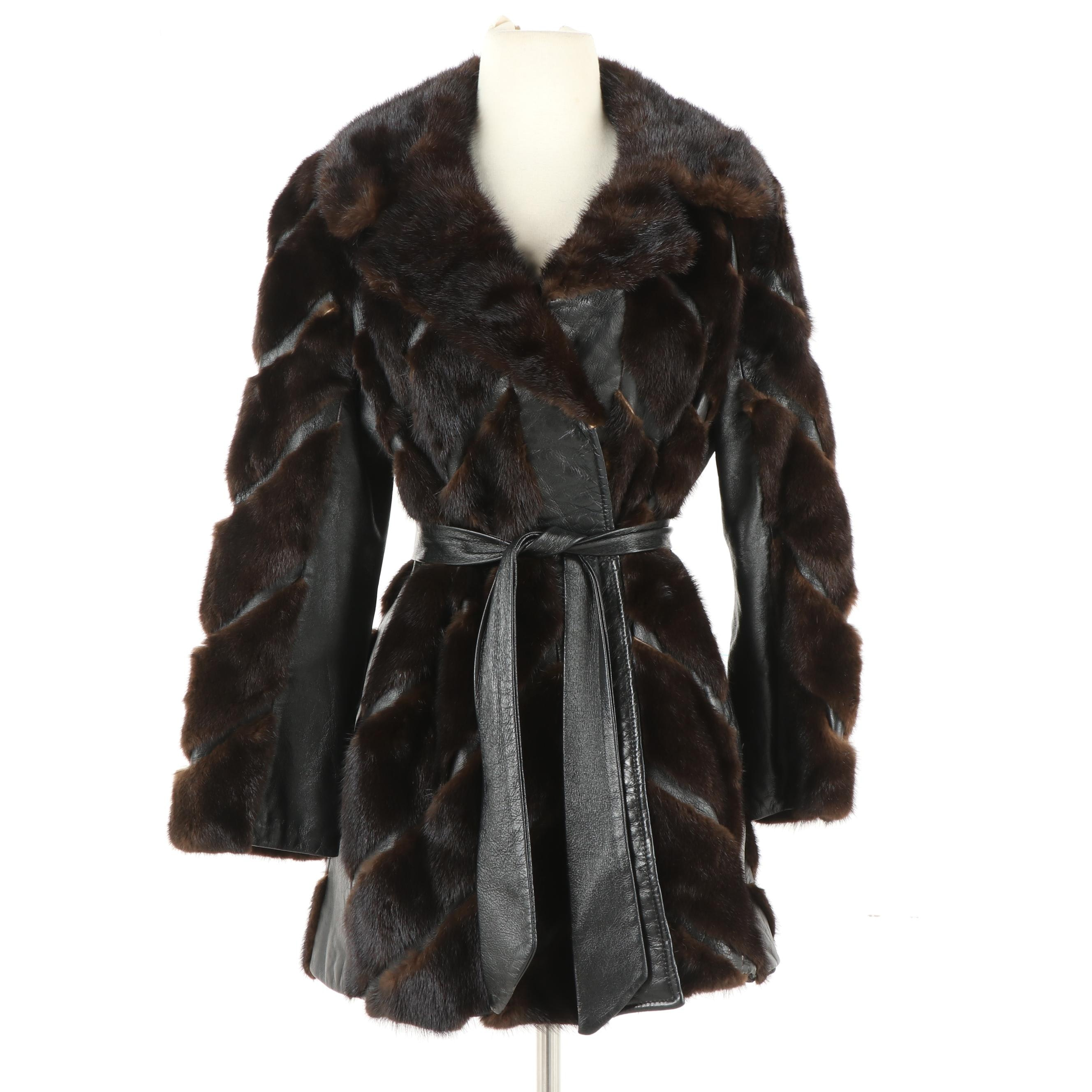 Charlotte Ford/Cownie Furriers Mahogany Mink Fur and Black Leather Coat, Vintage