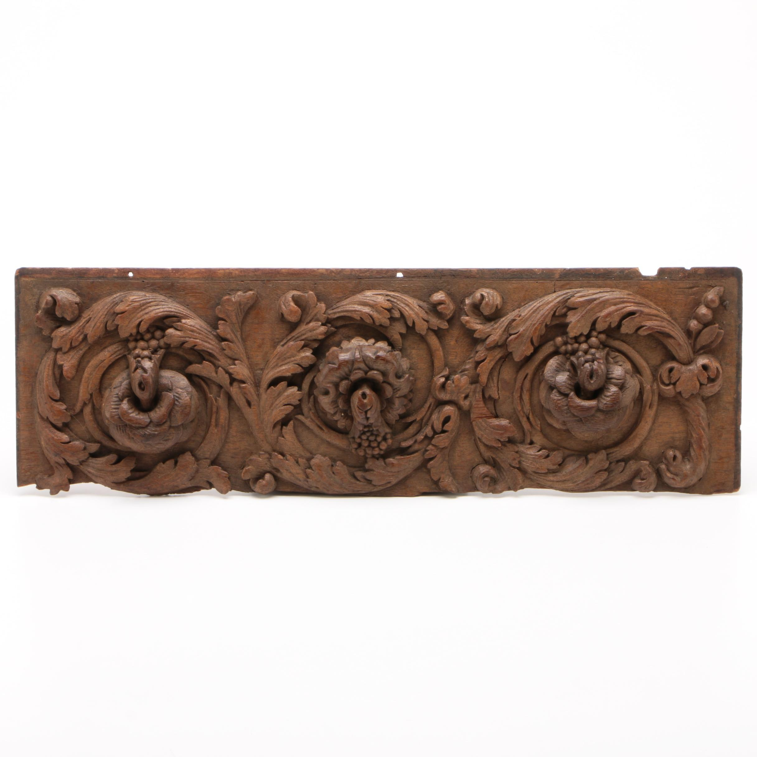 Carved Walnut Floral and Acanthus Wall Panel, Early 20th Century