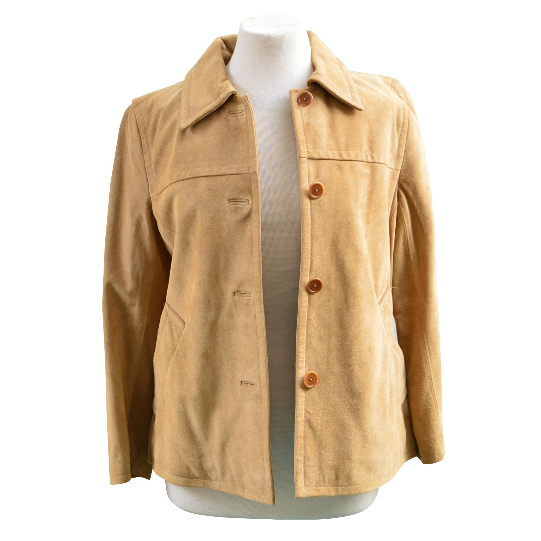Coach Suede Button-Front Jacket