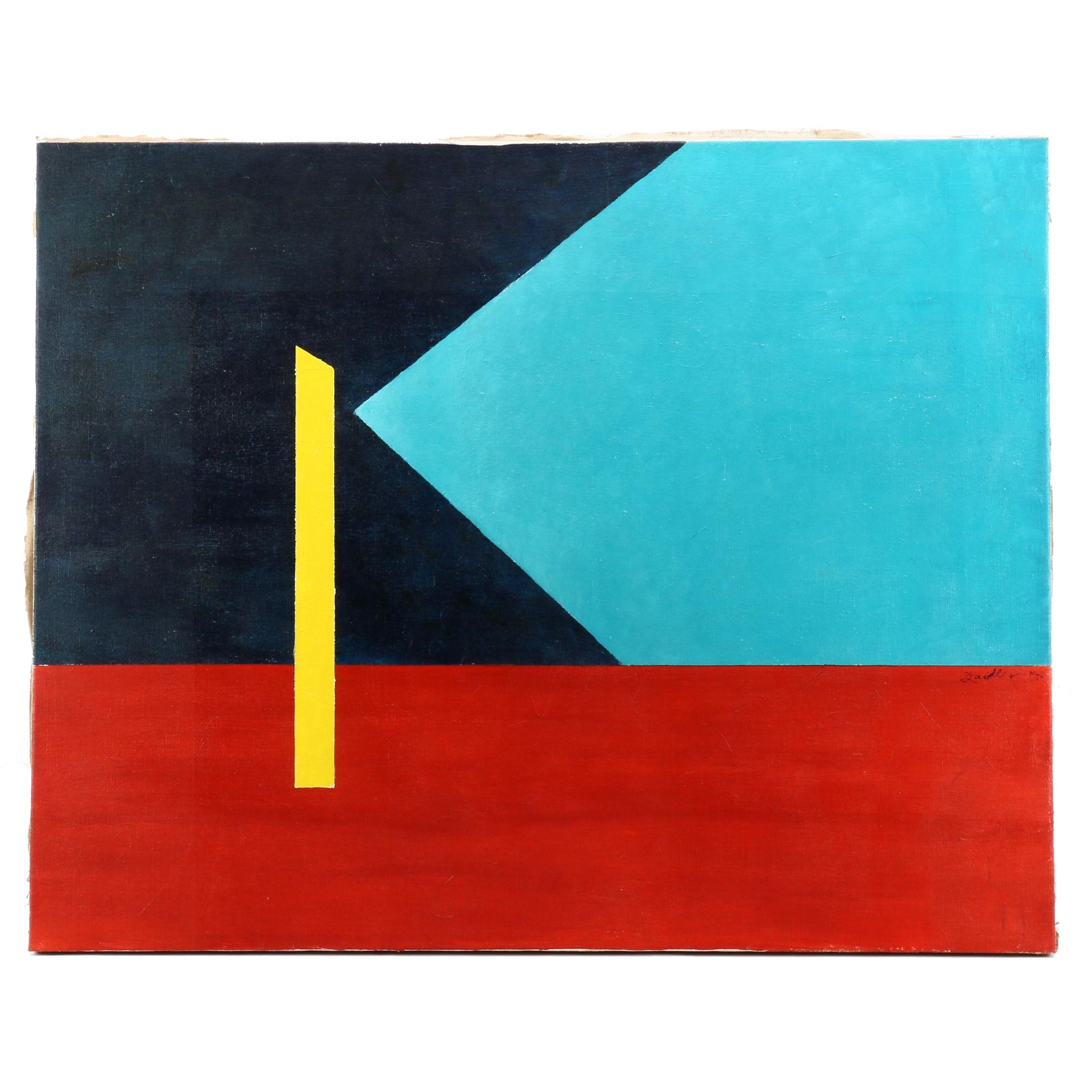 Zaidler Geometric Abstraction Oil Painting