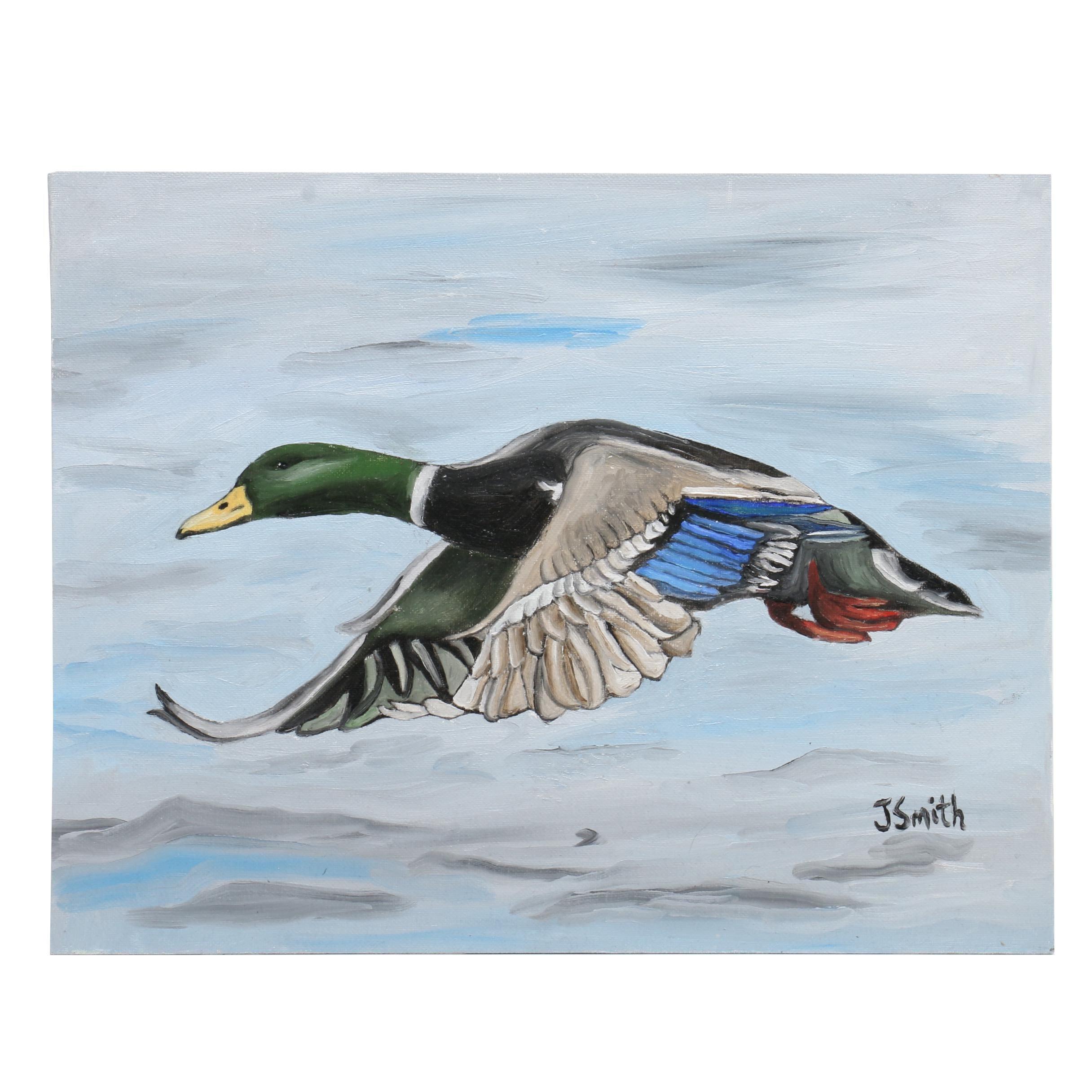 Jayme Smith Oil Painting of Mallard Duck in Flight