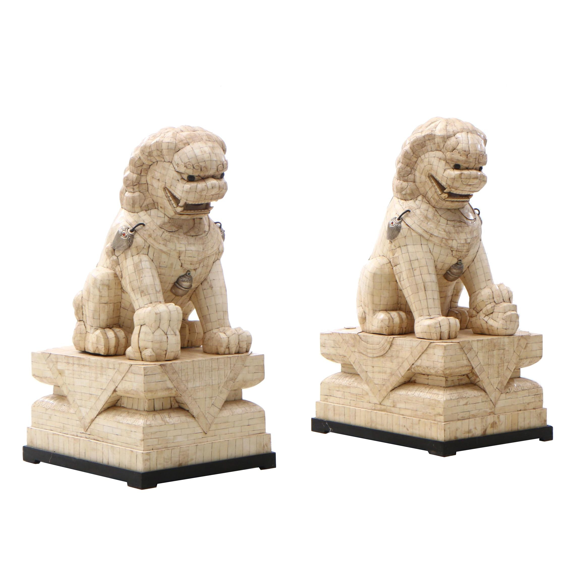 Chinese Tessellated Ox Bone Guardian Lion Figures