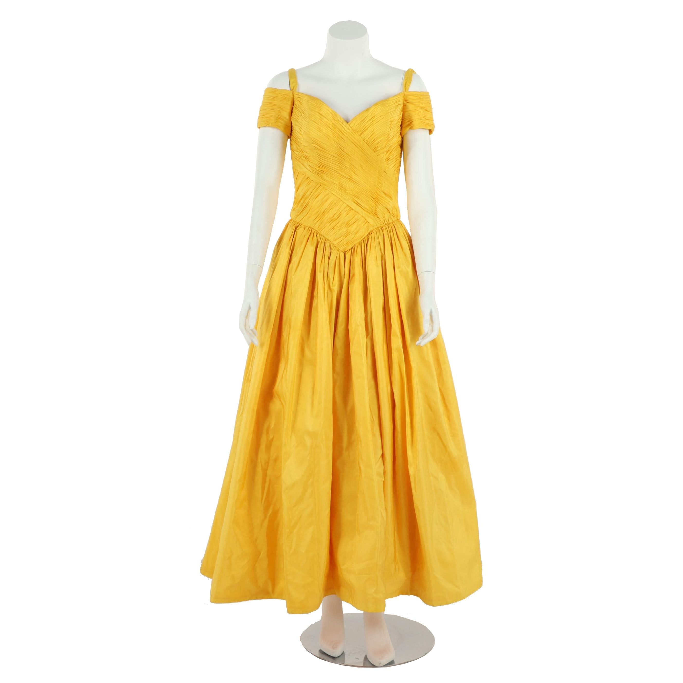 Chris Kole Yellow Silk Cold-Shoulder Pleated Evening Gown