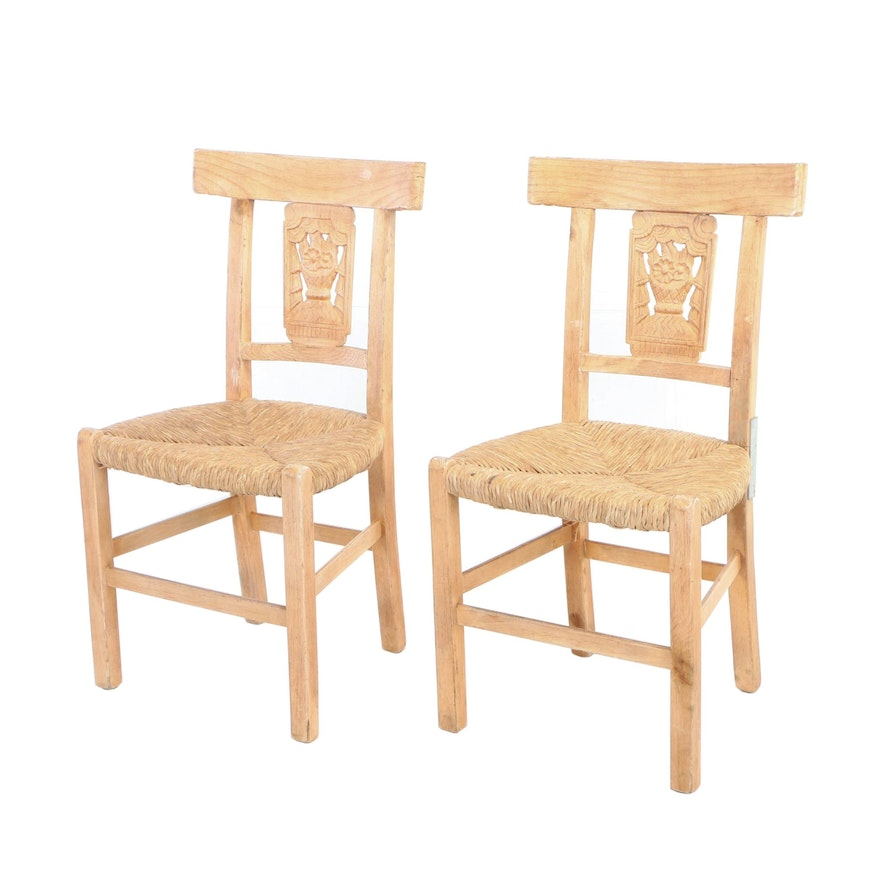 Pair Of French Provincial Style Carved And Pickled Side Chairs 20th Century Ebth