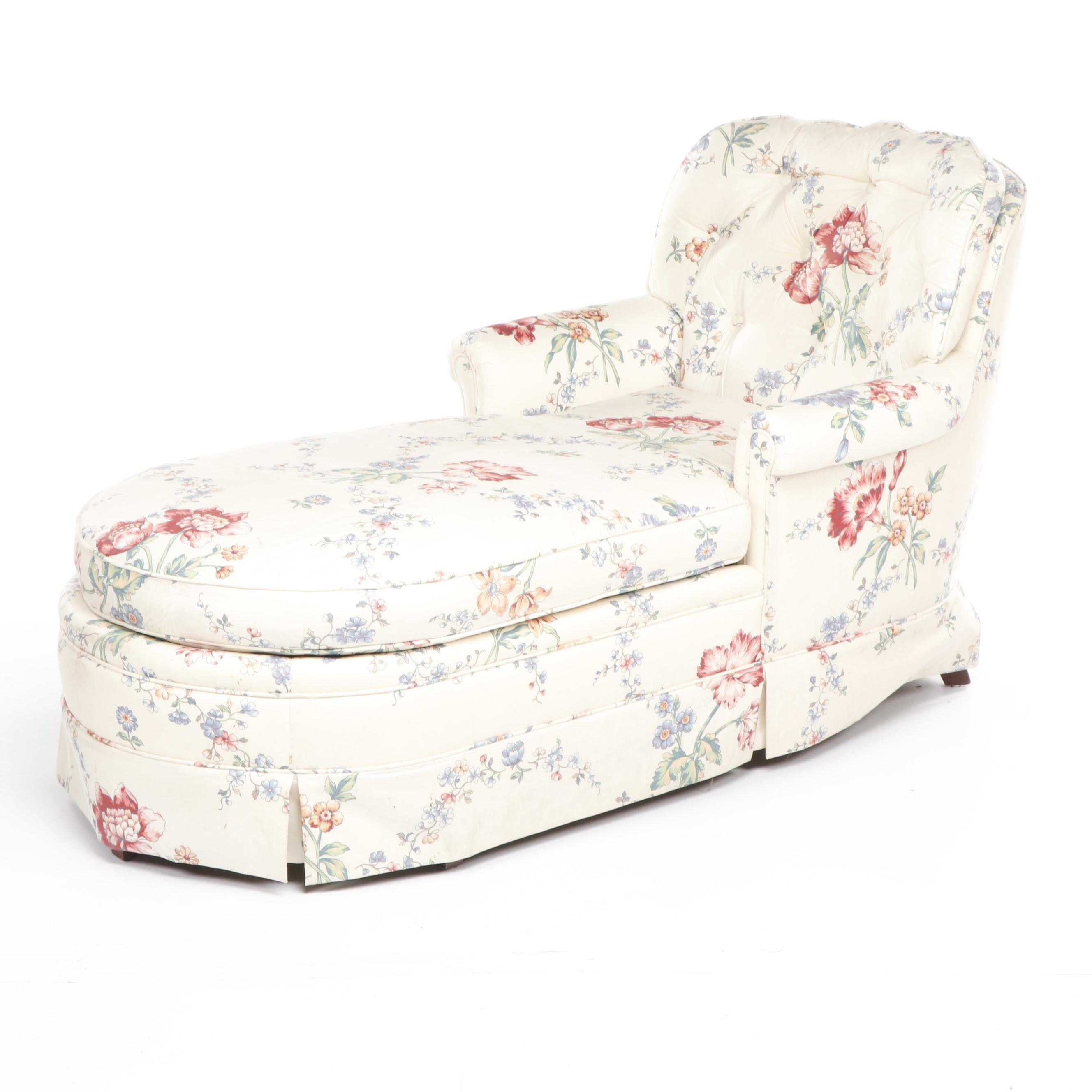 Floral Upholstered Button-Tufted Chaise Lounge, Late 20th Century