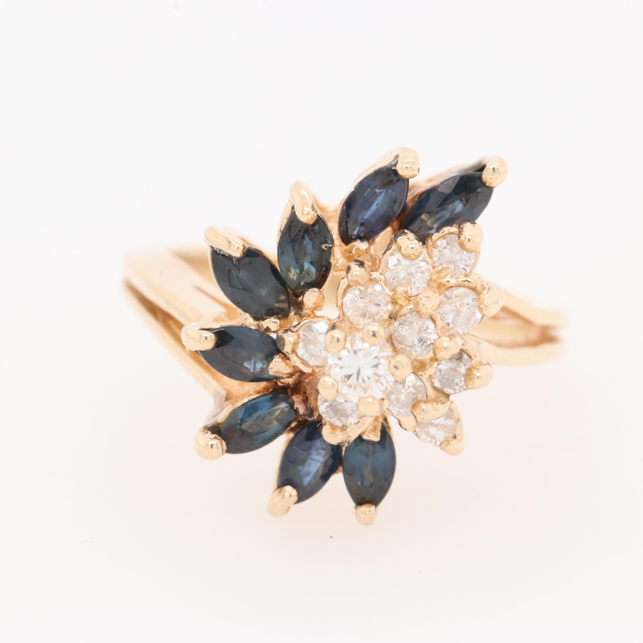 14K Yellow Gold Diamond and 1.00 CTW Sapphire Ring