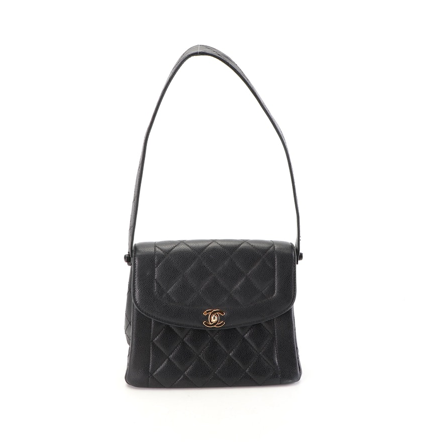 299e8a8ddc1e Chanel Paris Quilted Black Caviar Leather Shoulder Bag with CC Turnlock |  EBTH