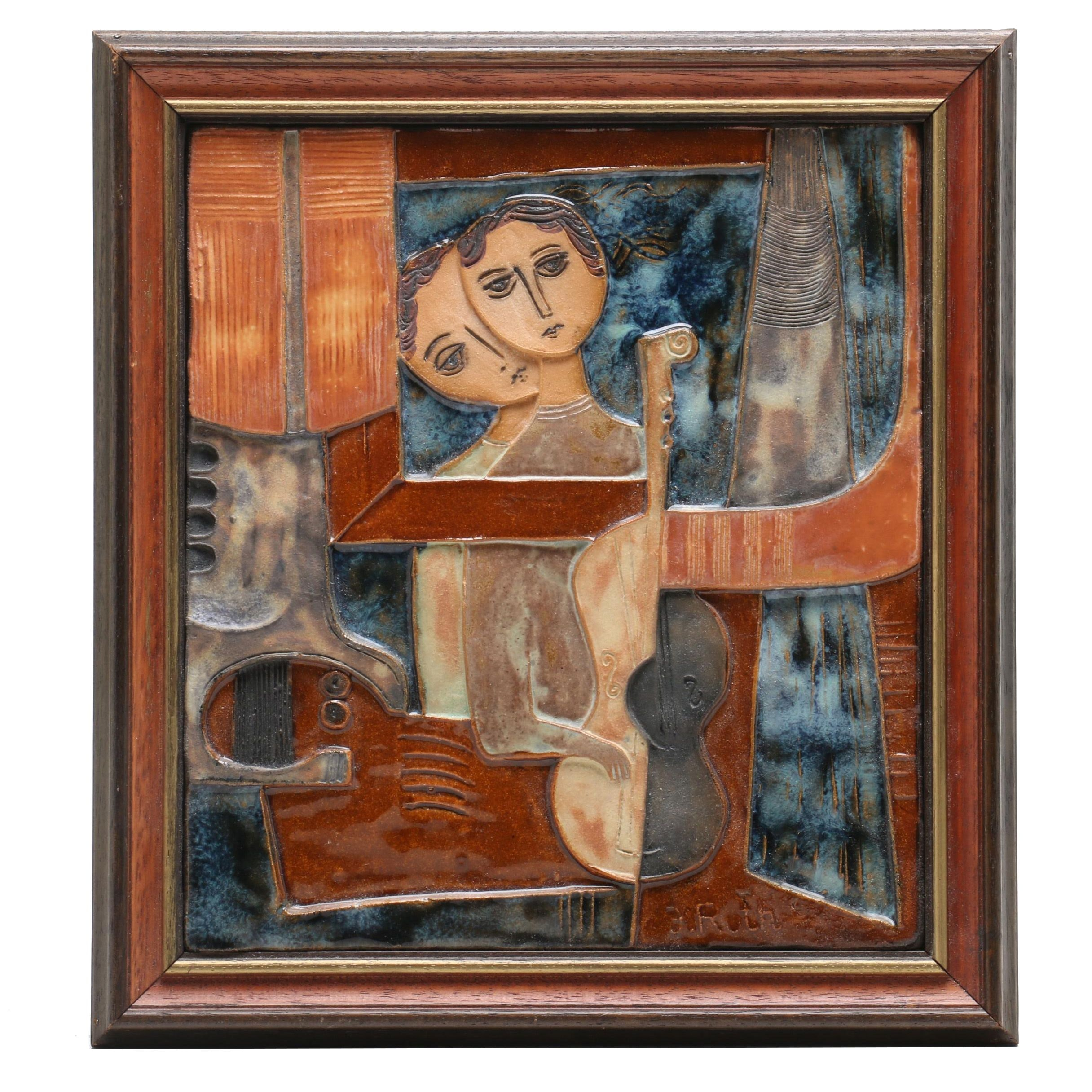 Ruth Faktor Framed Stoneware Bas Relief Tile of Figures Playing Music