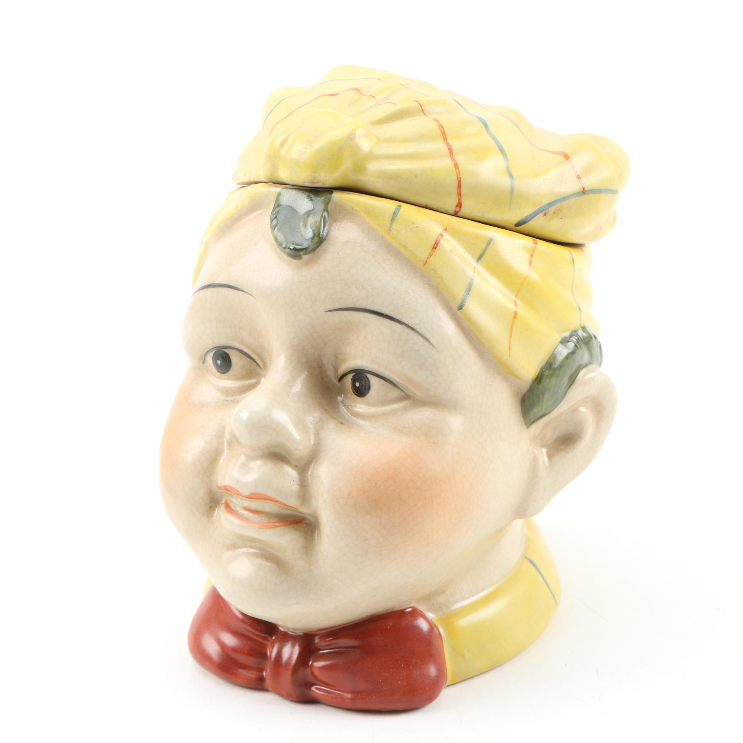 Continental Figural Ceramic Humidor, Early 20th Century
