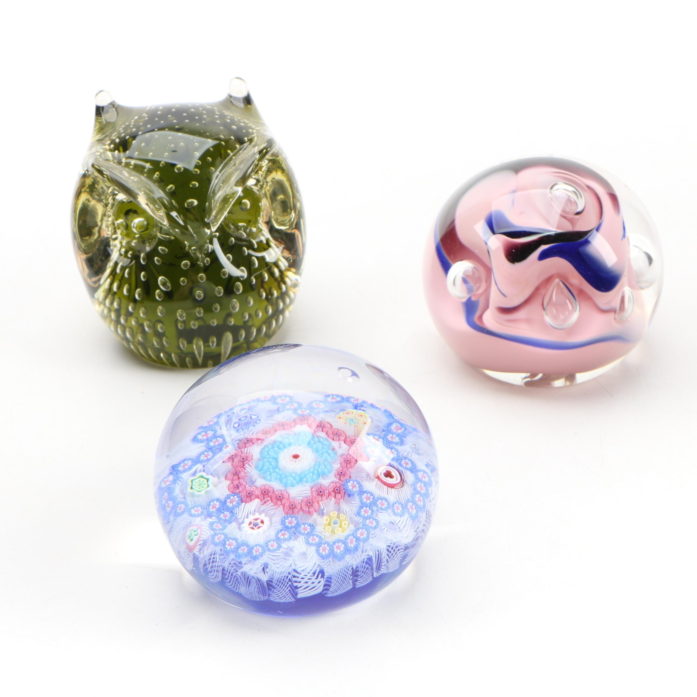 Baccarat Millefiori Art Glass Paperweight and other Art Glass Paperweights