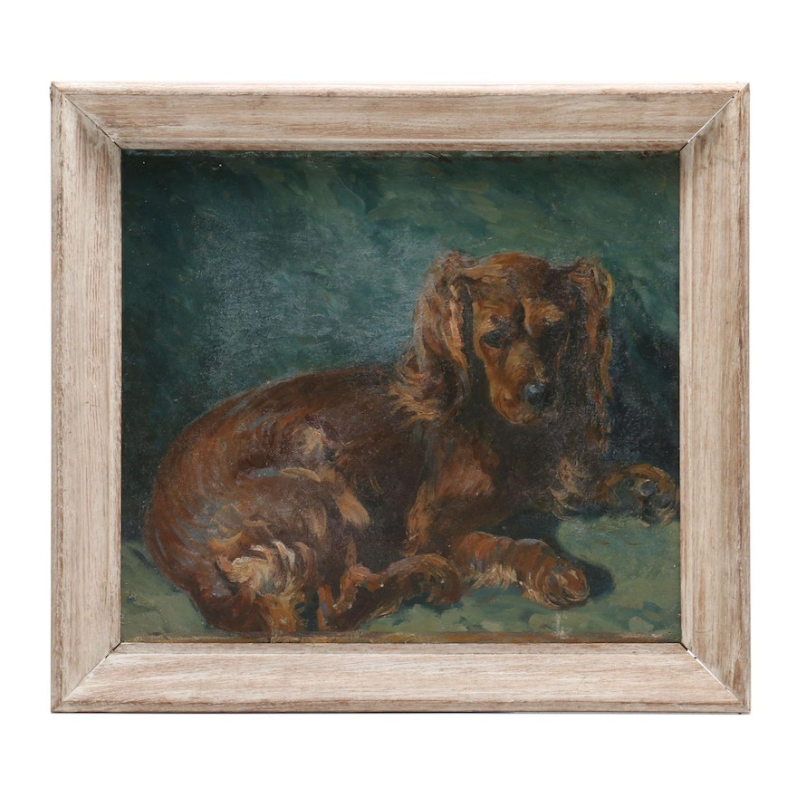 3d966167089a Oil Painting of Resting Dog | EBTH