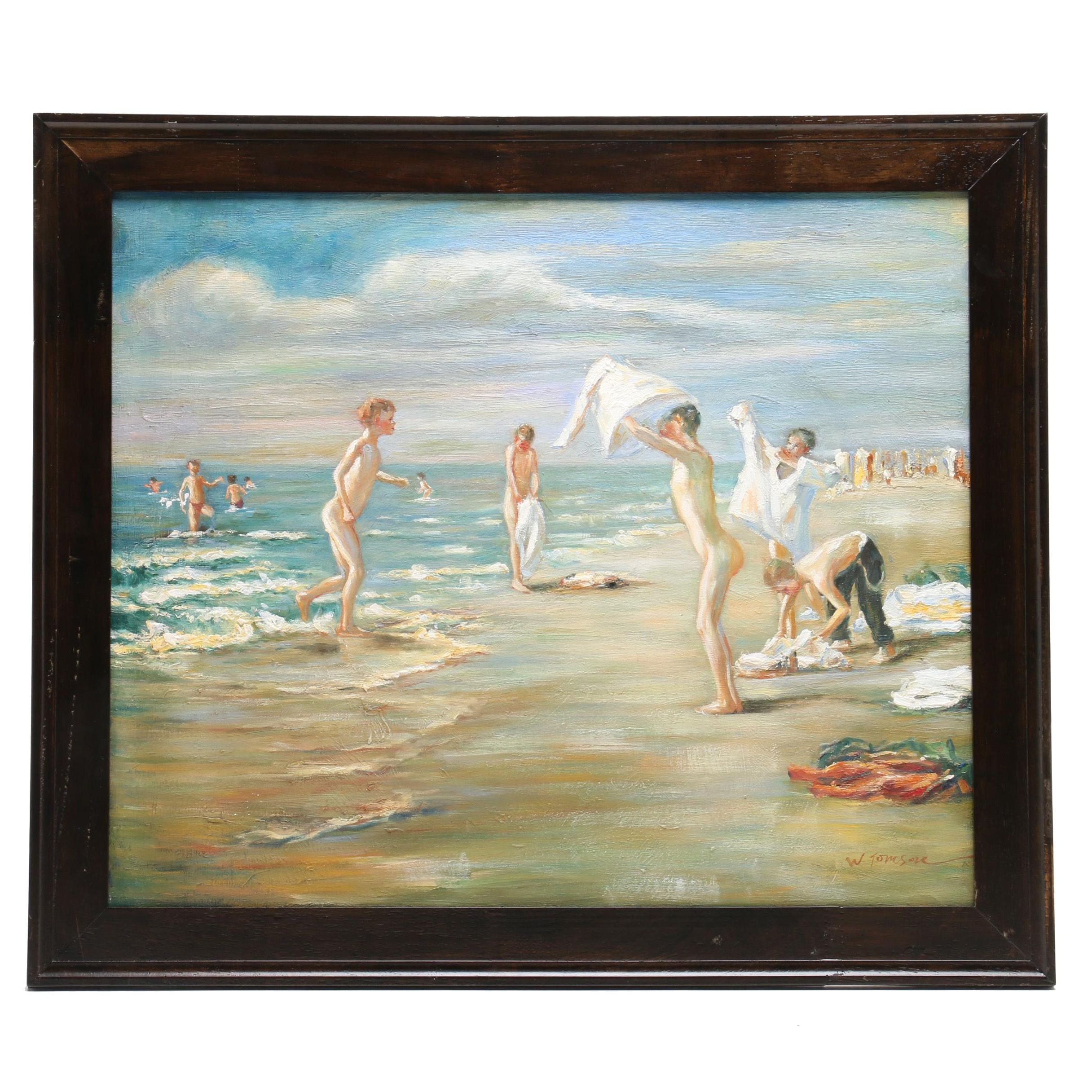 Oil Painting of Boys at the Beach