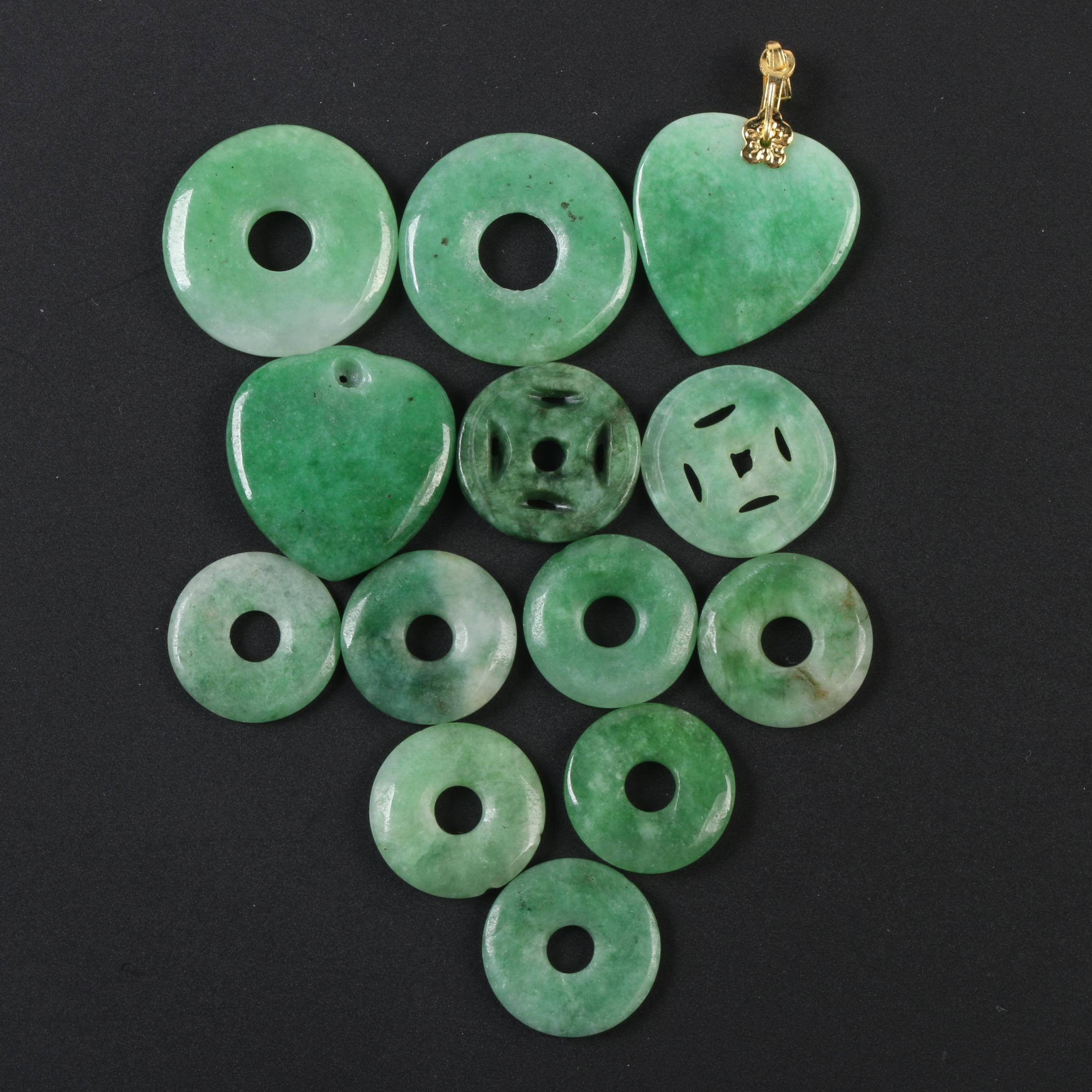 Gold Tone Metal and Dyed Jadeite Pendants and Bi Discs