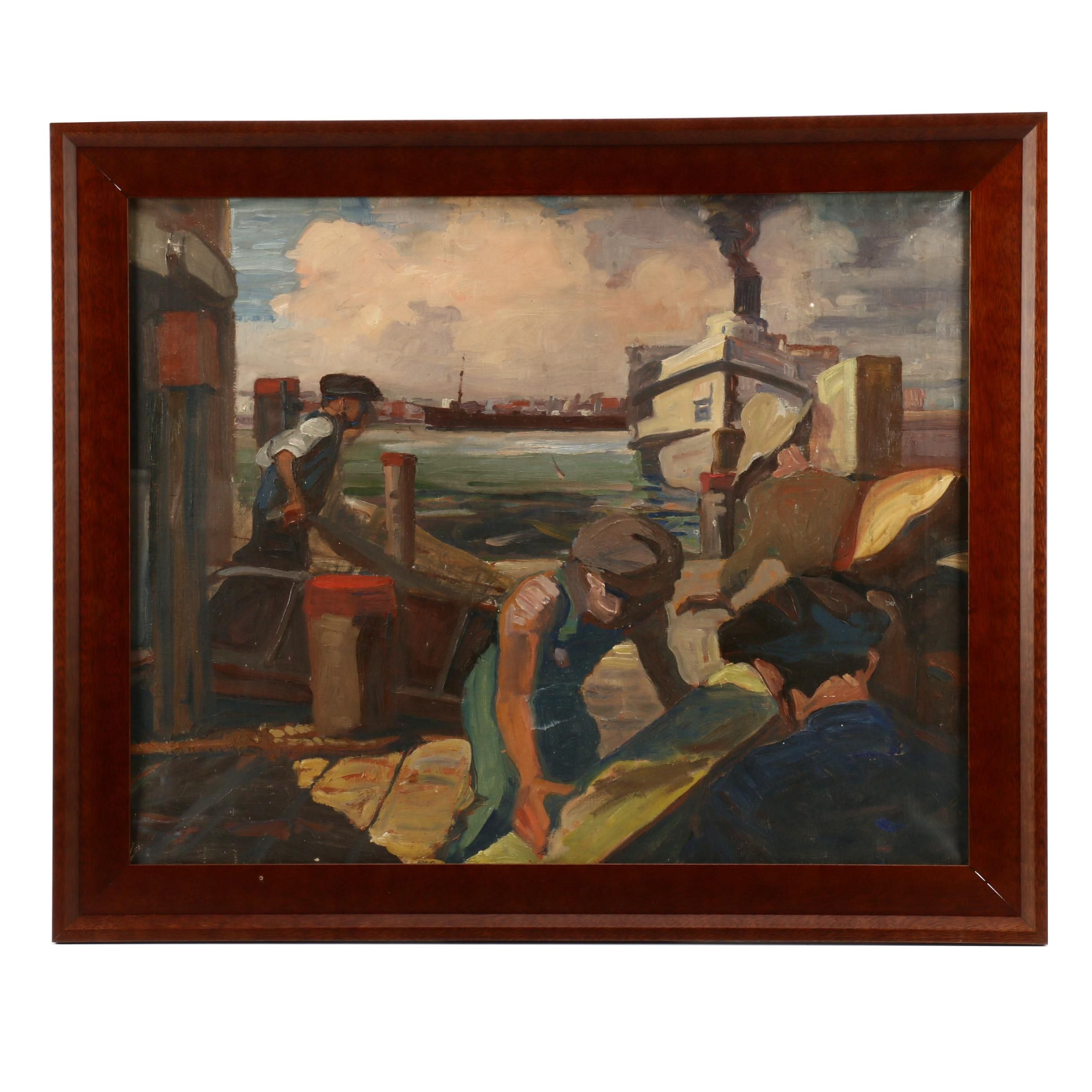 Oil Painting of Dock Workers at Industrial Harbor