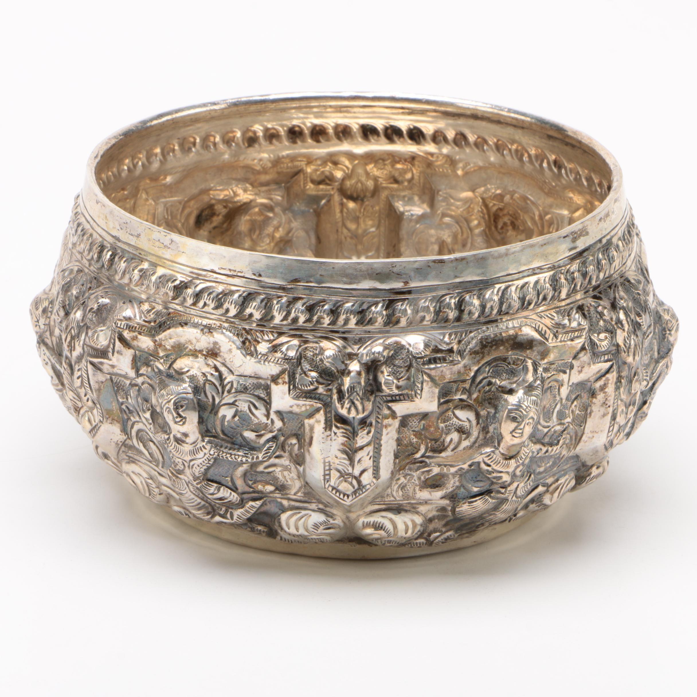 Thai 900 Silver Figural Repoussé Bowl