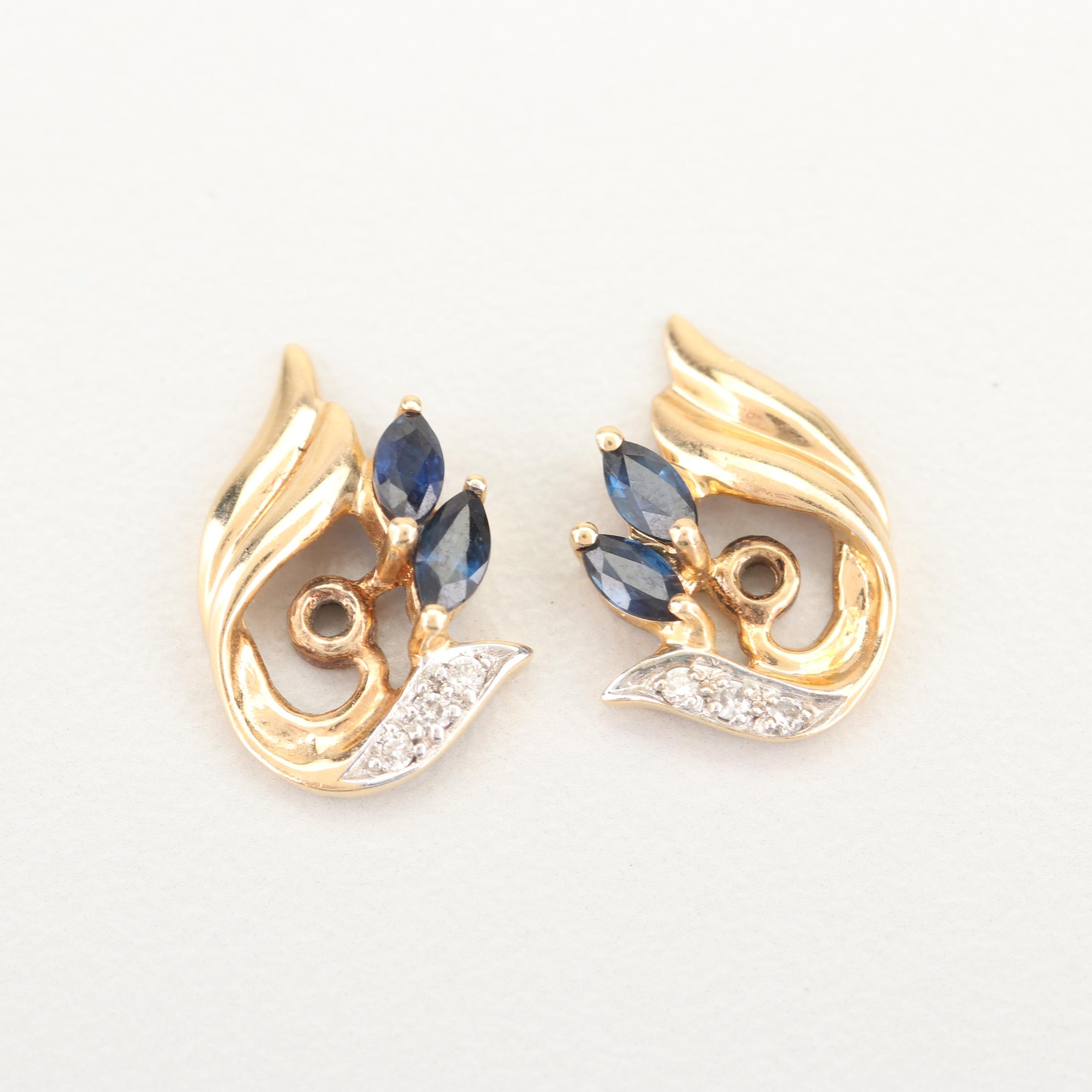 14K Yellow Gold Sapphire and Diamond Earring Jackets