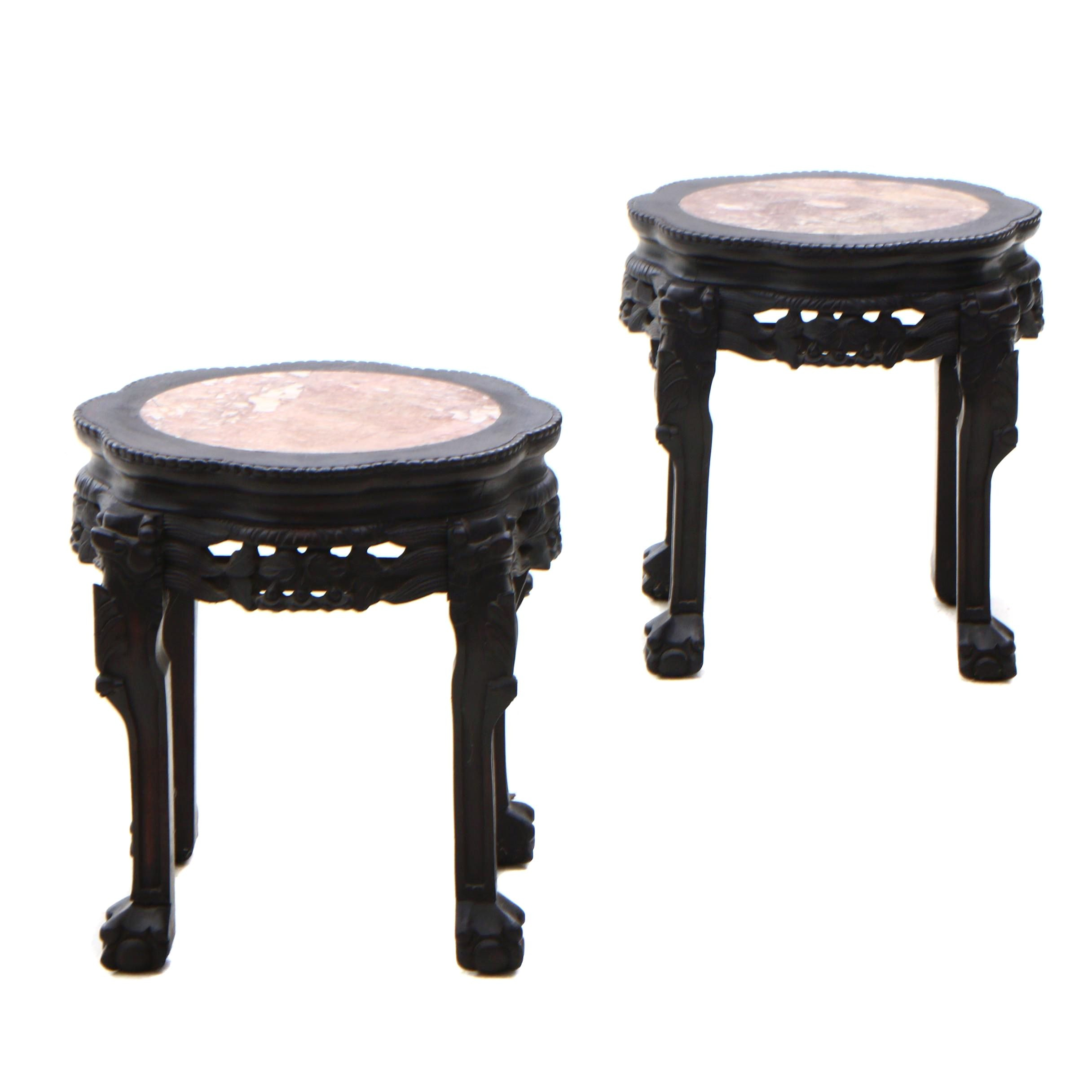 Chinese Ebonized Marble Top Accent Tables, Contemporary
