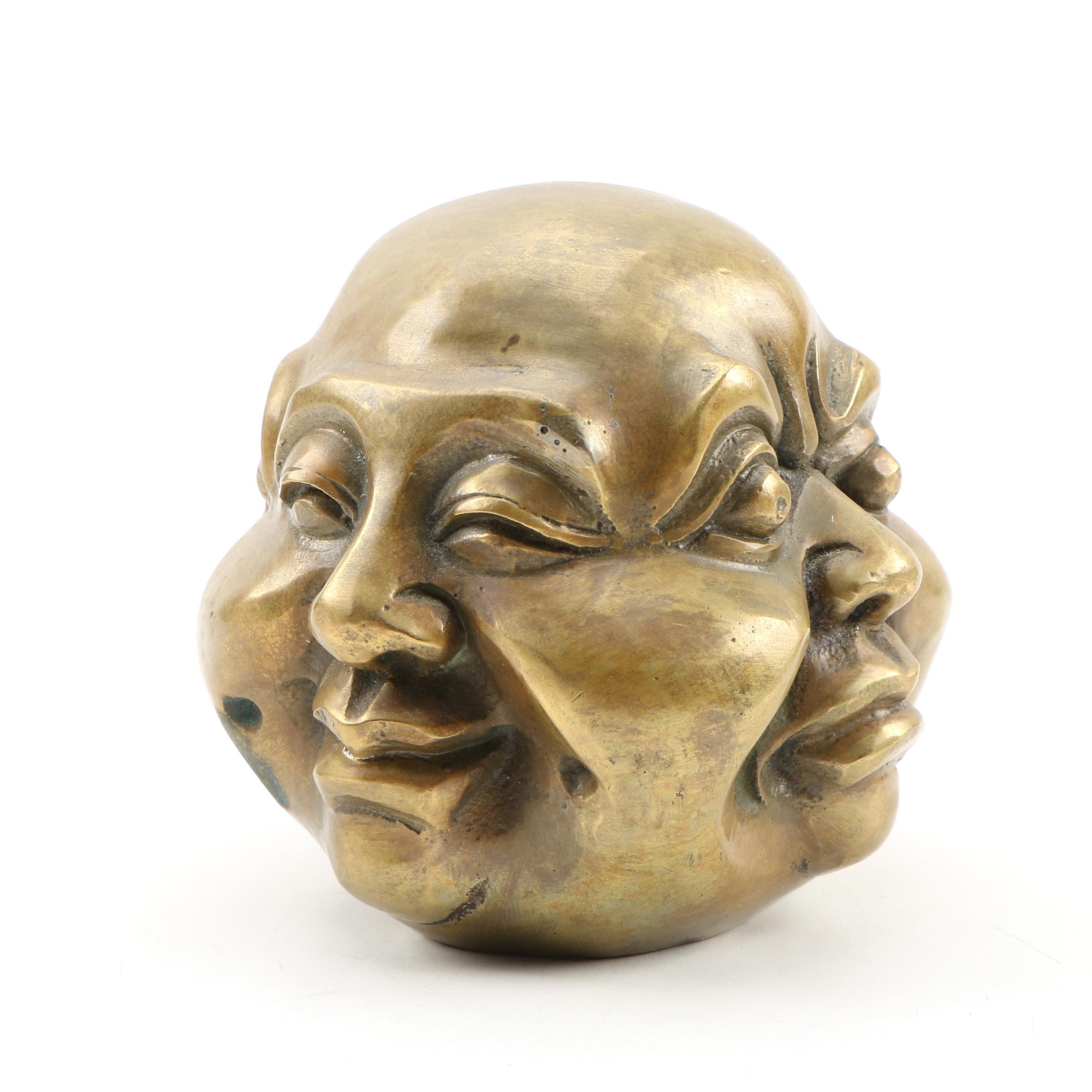 Chinese Cast Brass Four Faced Buddha