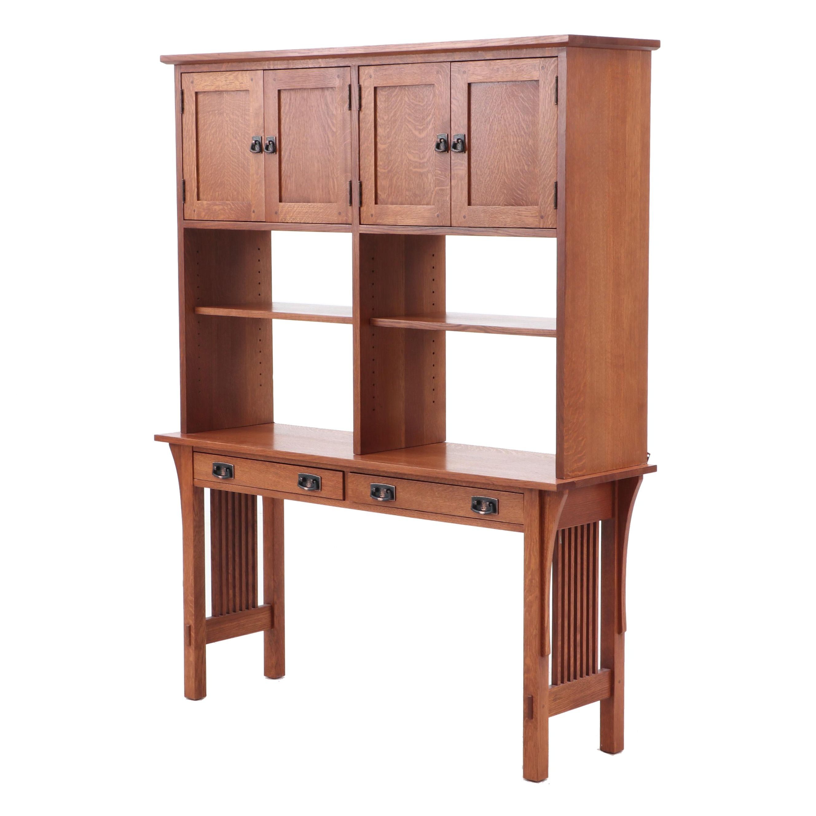 Stickley Oak Writing Desk with Bookshelves, Late 20th Century