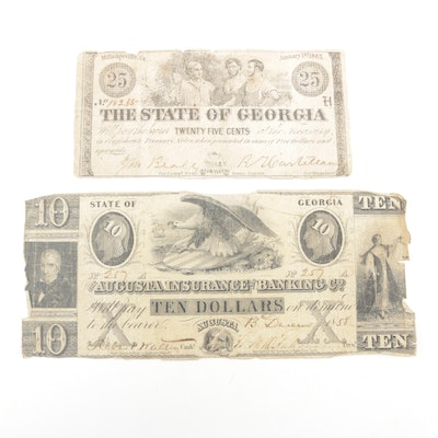 State of Georgia Obsolete Currency, Mid 19th Century