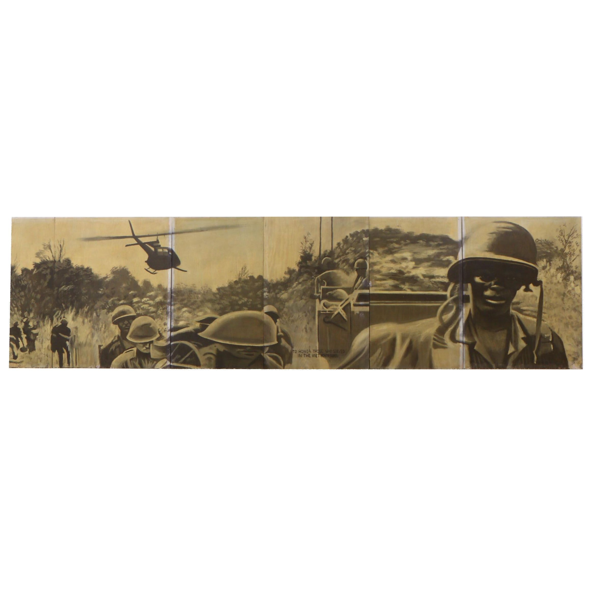 Greg Storer Multi-Panel Vietnam War Themed Mural Painting