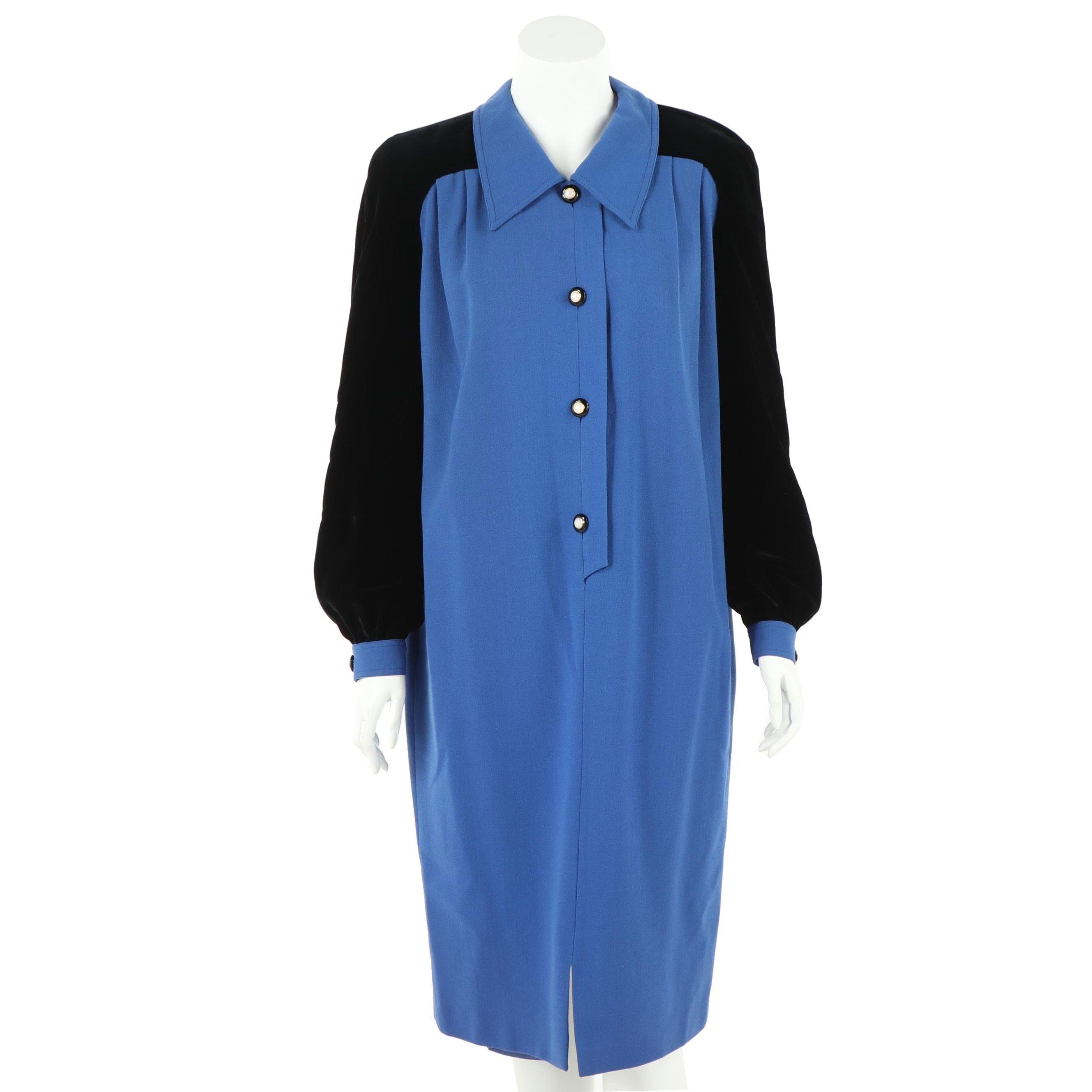 Valentino Miss V Blue Wool and Black Velvet Midi Dress