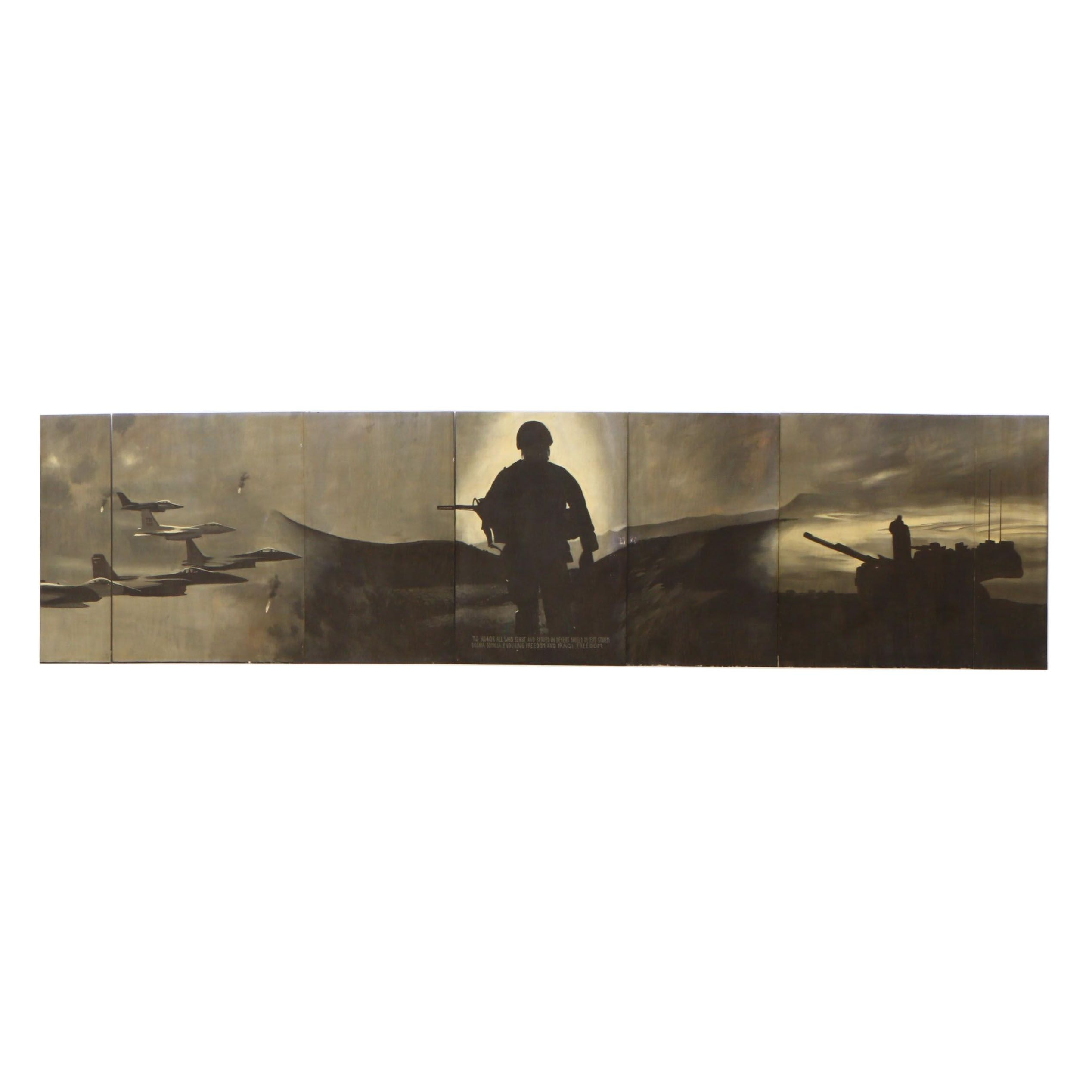Greg Storer Multi-Panel Desert Storm Themed Mural Painting