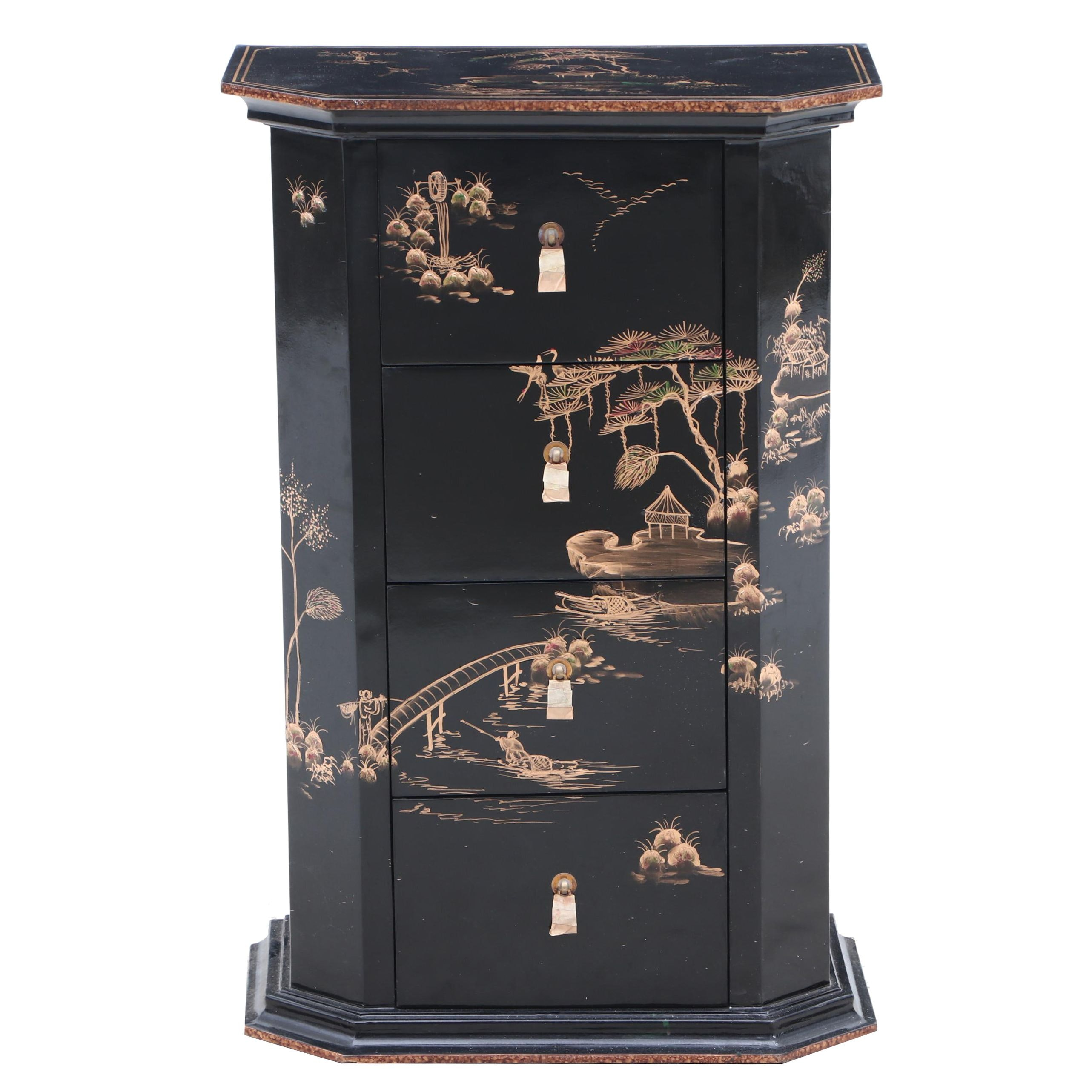 Chinese Ebonized and Gilt Night Stand, Contemporary
