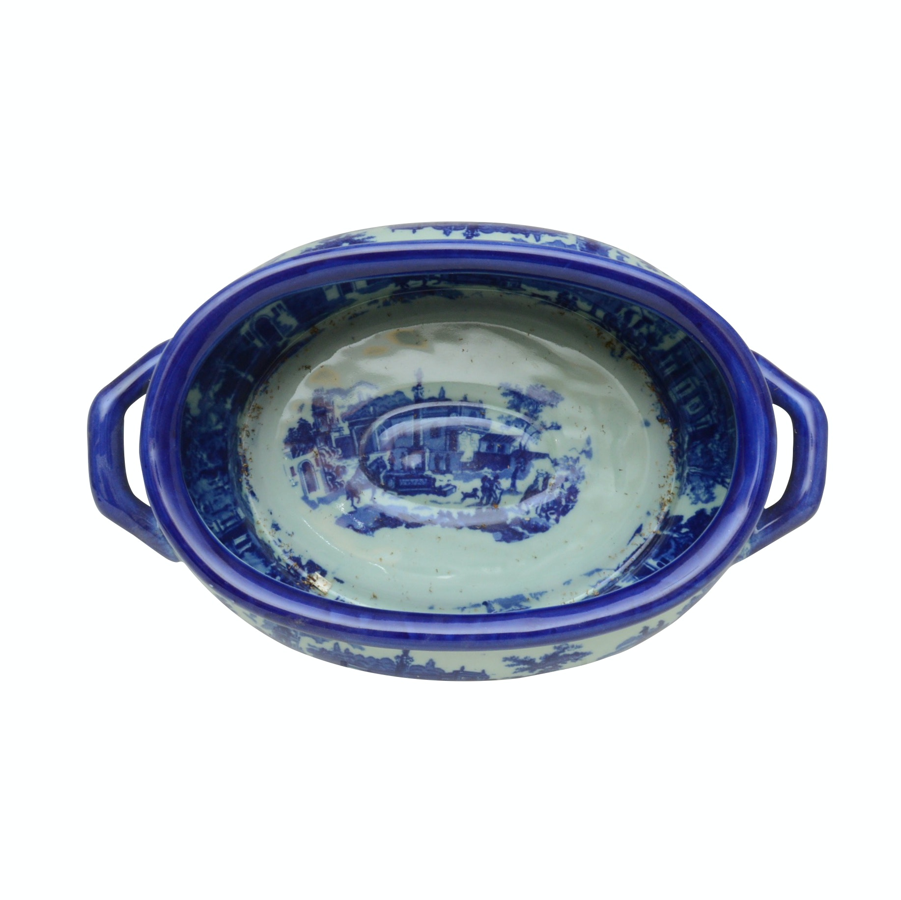 Blue and White Ironstone Centerpiece Bowl, Late 19th Century