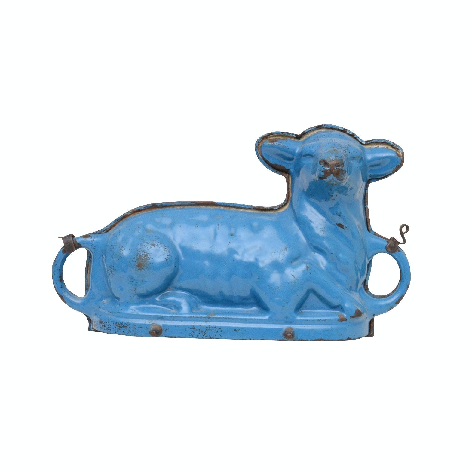 Blue Cast Iron Lamb Mold