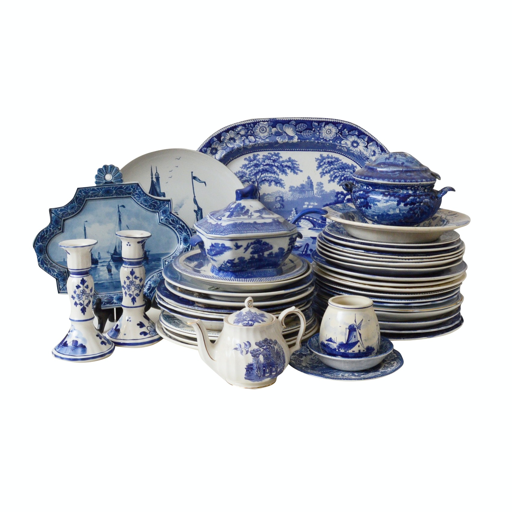 Collection of Blue and White Stoneware Tableware