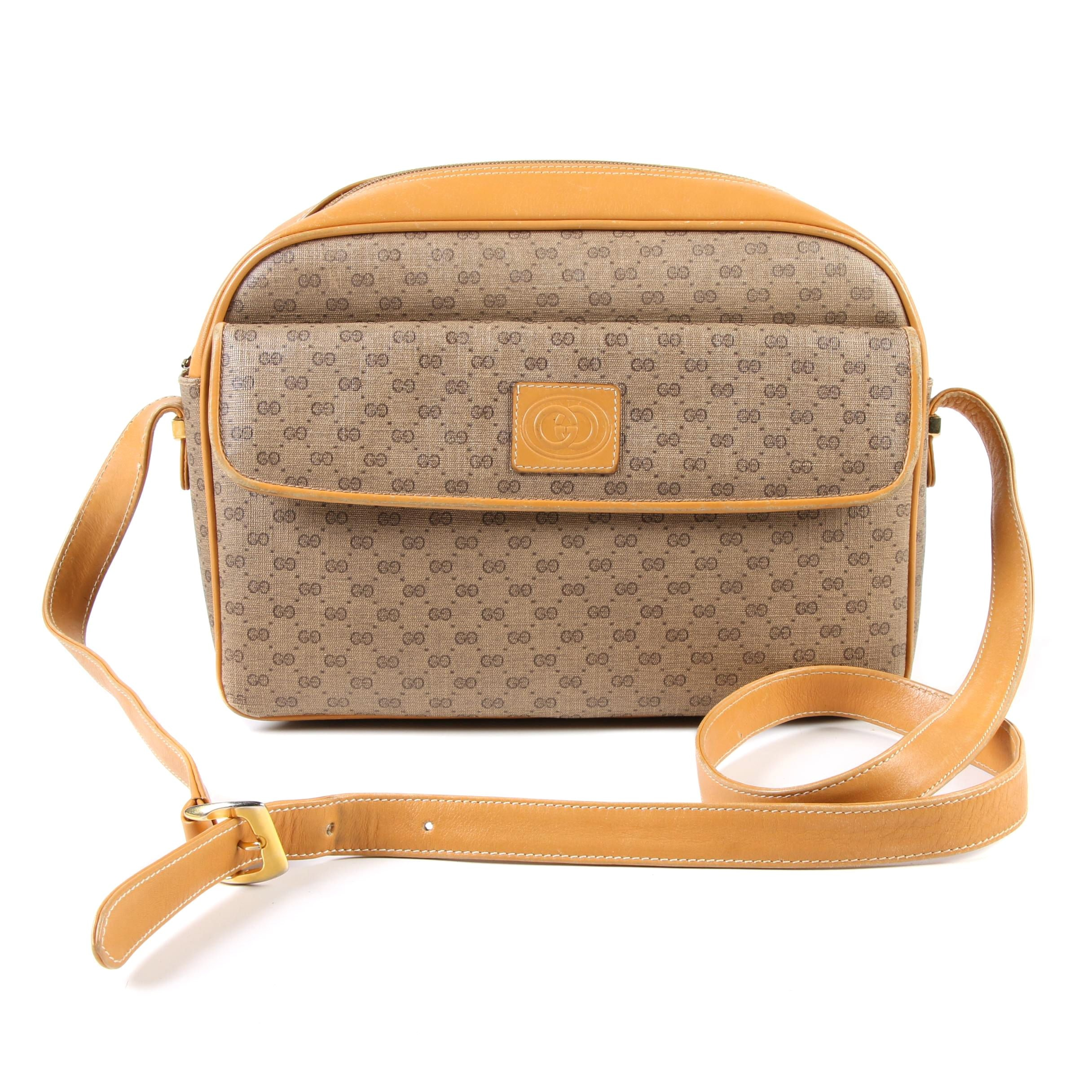 Gucci Micro GG Canvas and Tan Leather Crossbody Shoulder Bag, Vintage