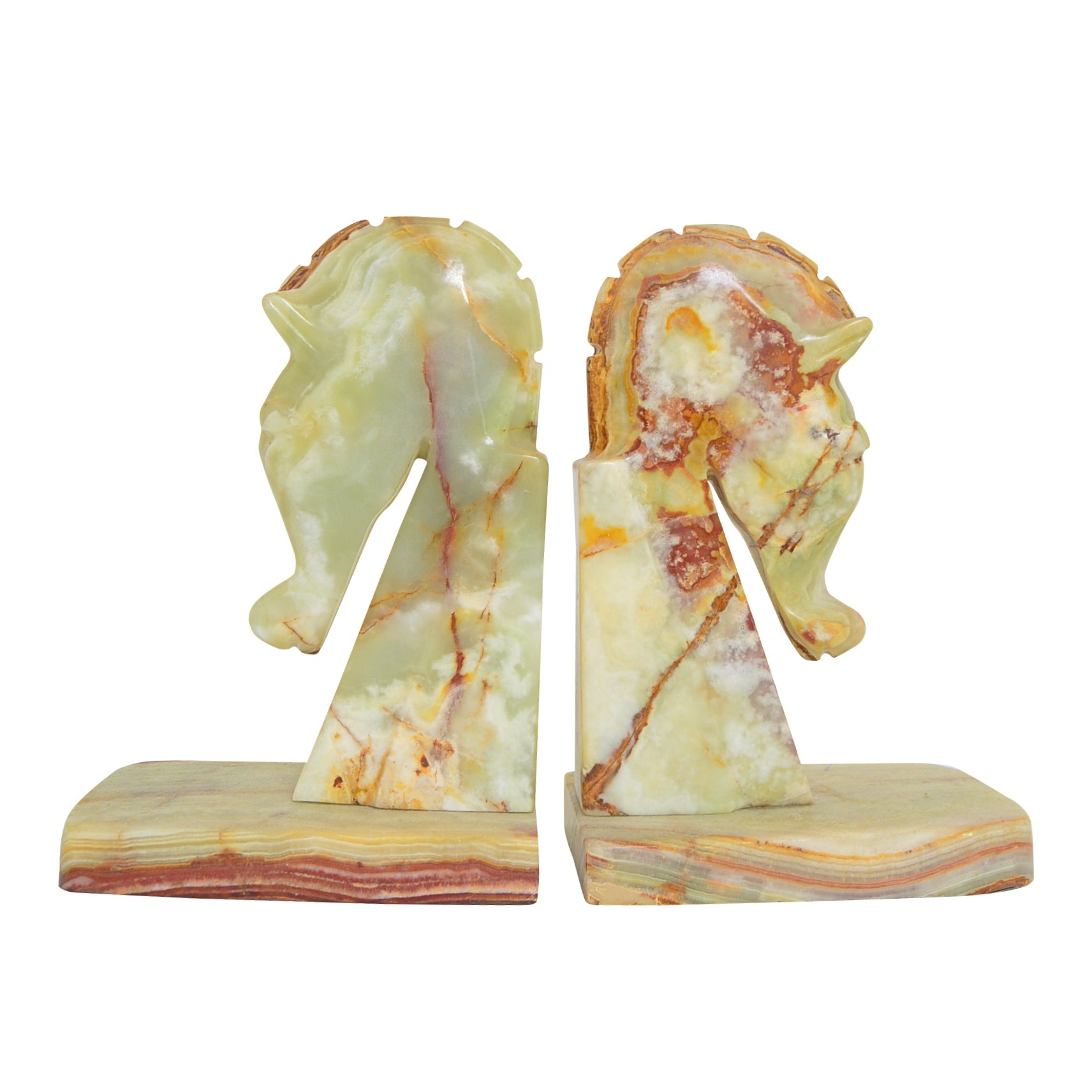 Neoclassic Style Onyx Trojan Horse Bookends