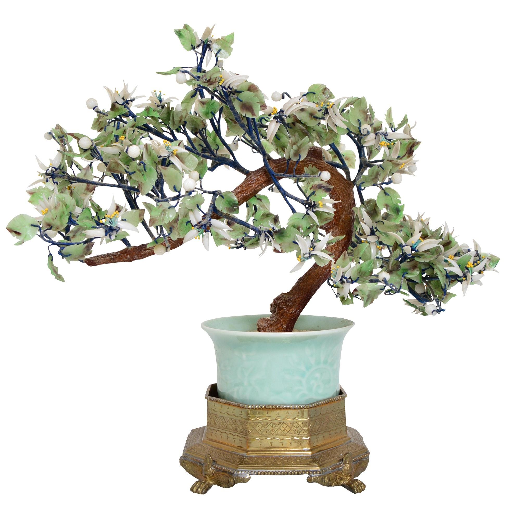 Asian Stone Bonsai Tree in Mottahedeh Brass Planter