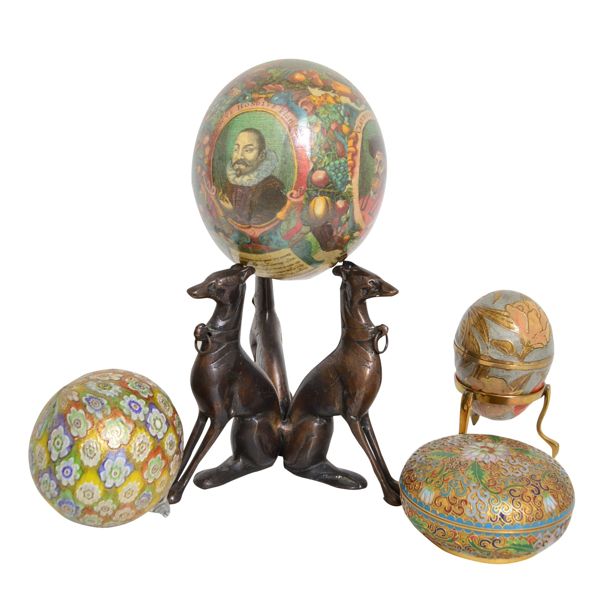 Cloisonne Trinket Box and Egg Box on Stand, Ornament and Decoupage Egg on Stand